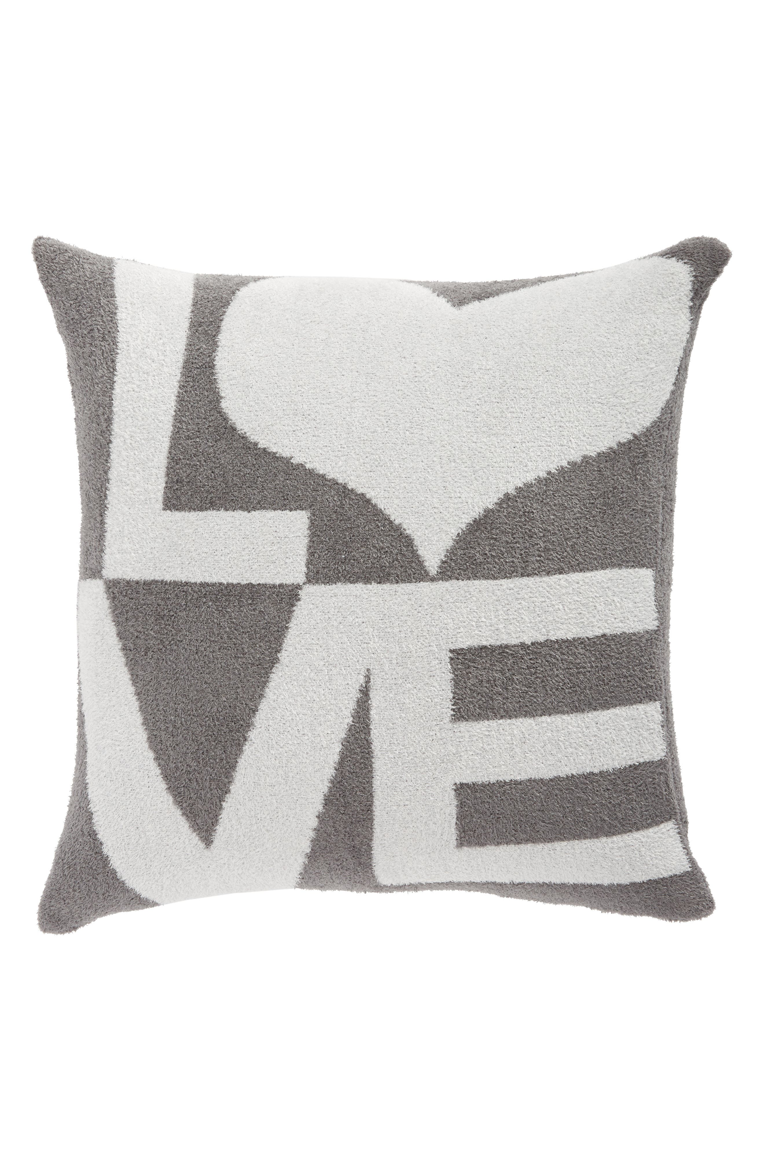 Dolce Love Throw Pillow,                             Main thumbnail 1, color,                             Charcoal/ Silver