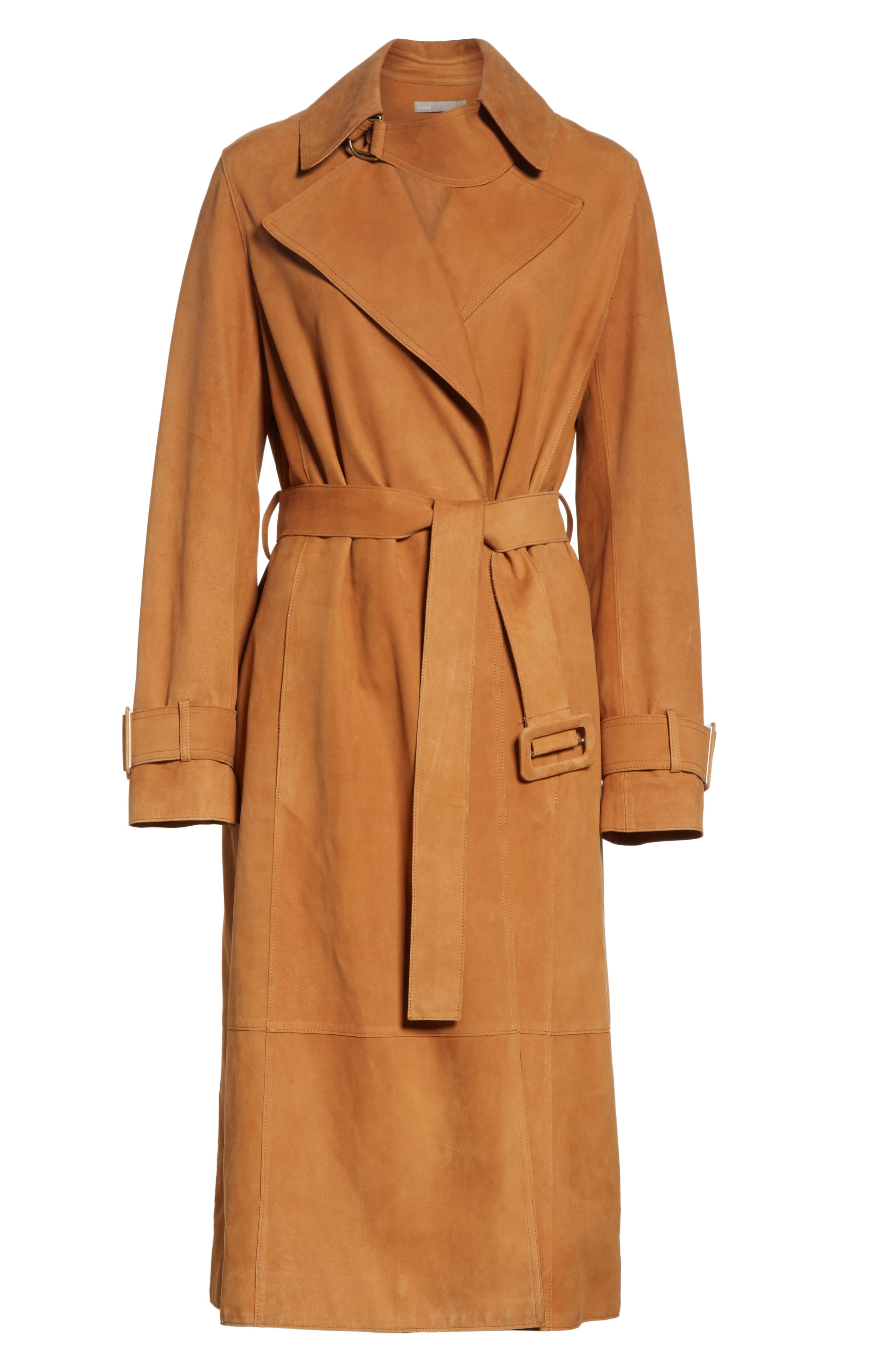 Suede Trench Coat,                             Alternate thumbnail 6, color,                             Deep Saddle
