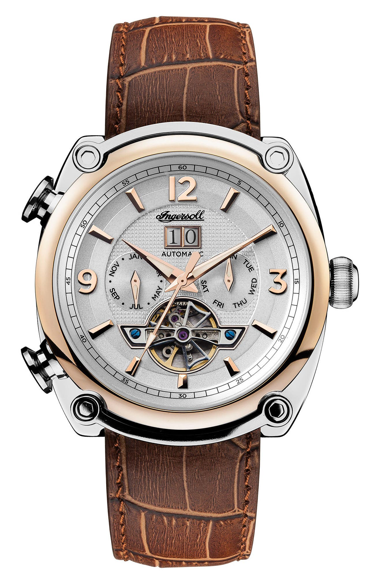 Ingersoll Michigan Automatic Multifunction Leather Strap Watch, 45mm,                             Main thumbnail 1, color,                             Brown/ Silver/ Rose Gold