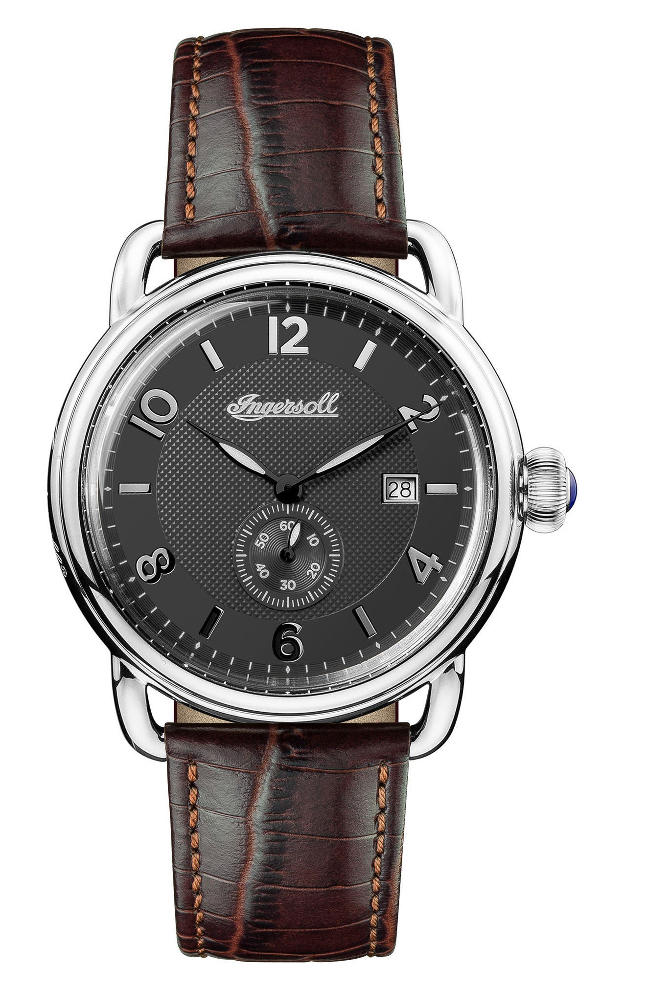 Ingersoll New England Leather Strap Watch, 42mm,                             Main thumbnail 1, color,                             Brown/ Black/ Silver