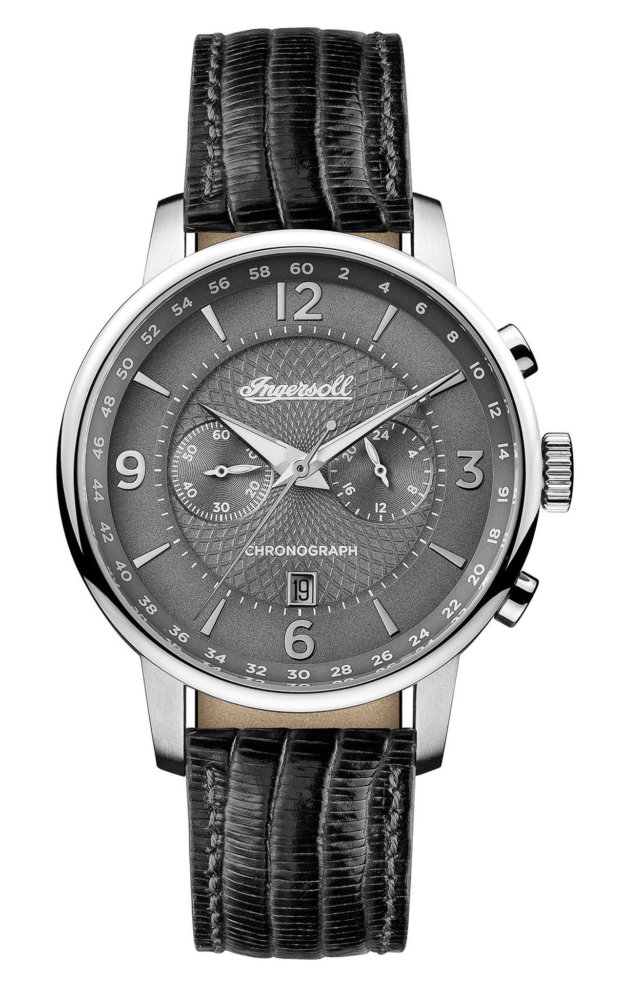 Ingersoll Grafton Chronograph Leather Strap Watch, 42mm,                         Main,                         color, Black/ Grey/ Silver
