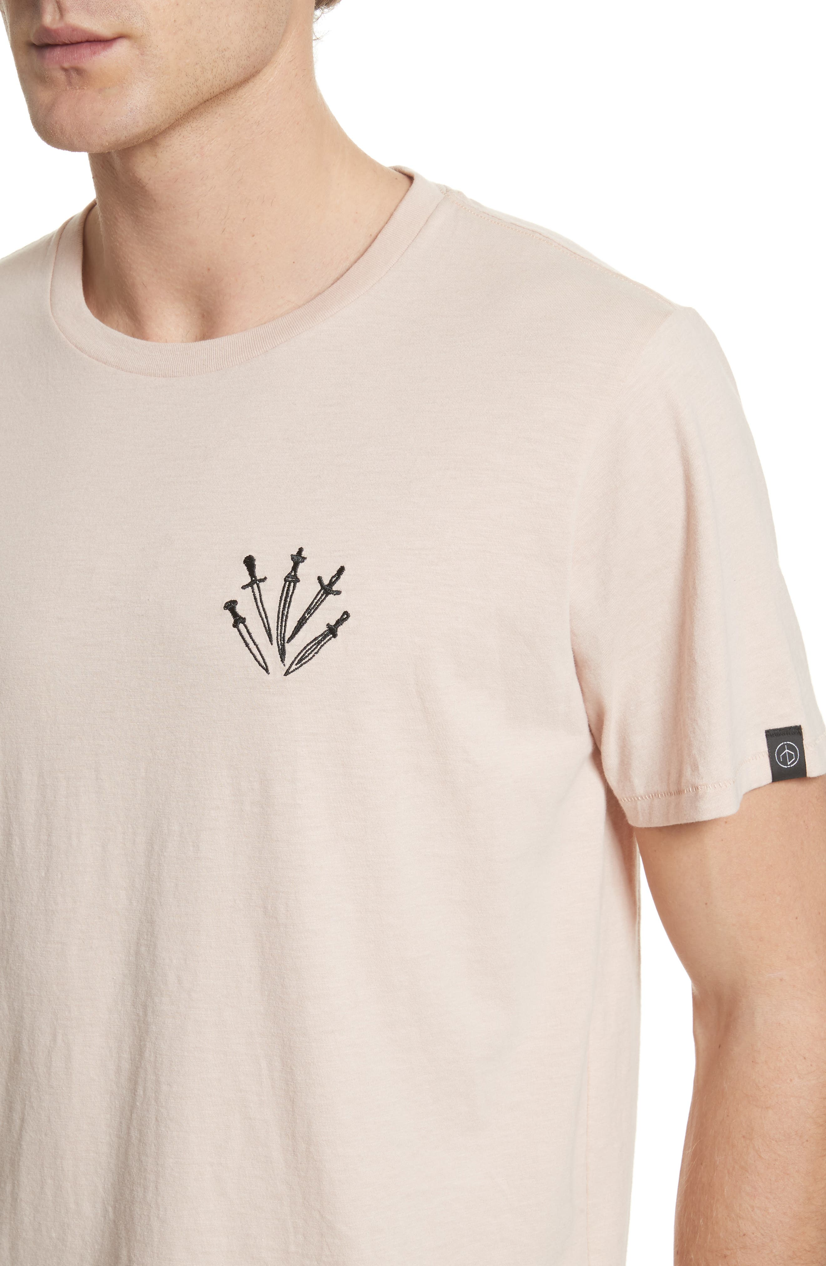 Dagger Embroidered T-Shirt,                             Alternate thumbnail 4, color,                             Pink