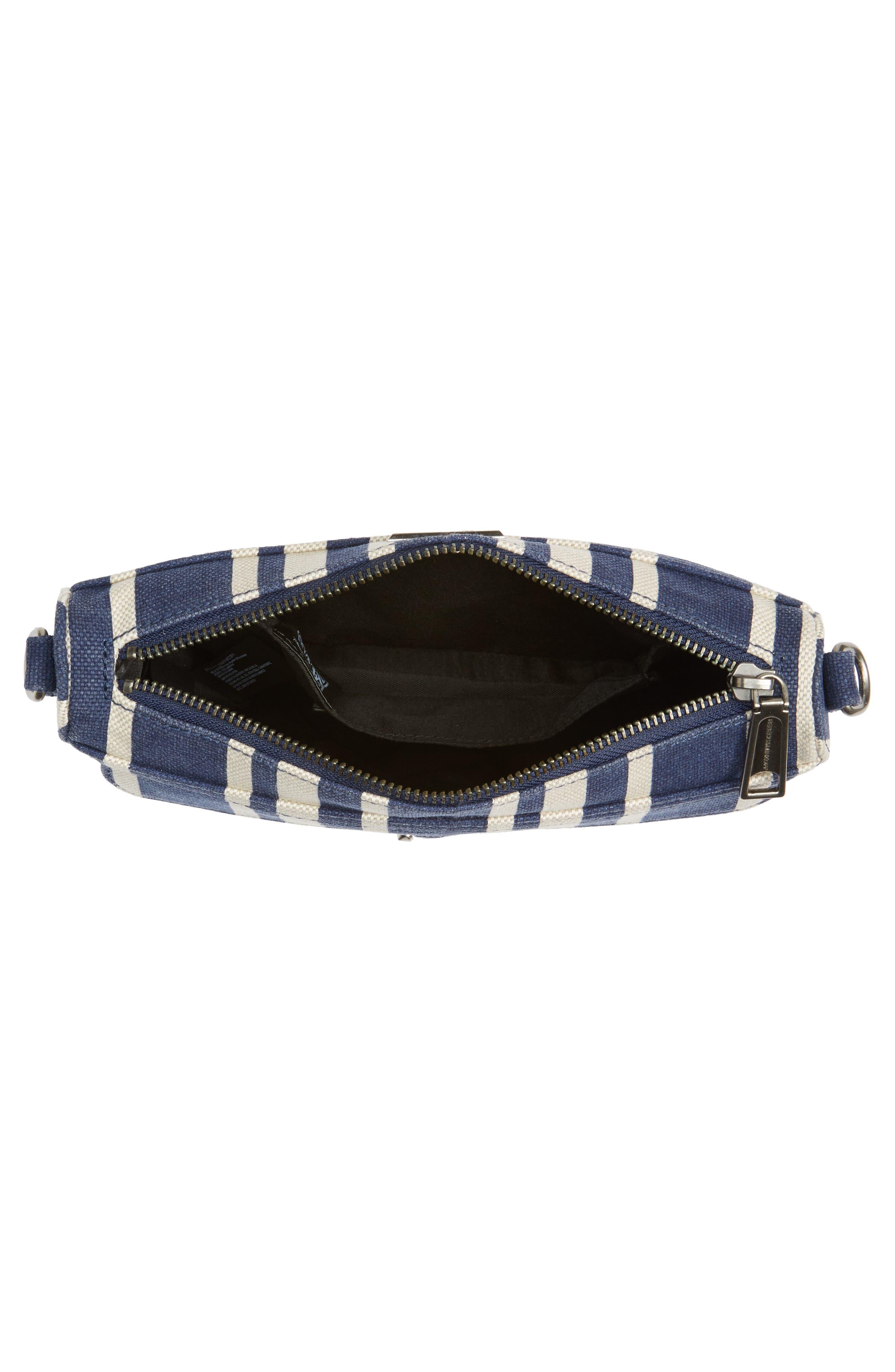 Mini MAC Stripe Canvas Convertible Crossbody Bag,                             Alternate thumbnail 4, color,                             Navy Stripe