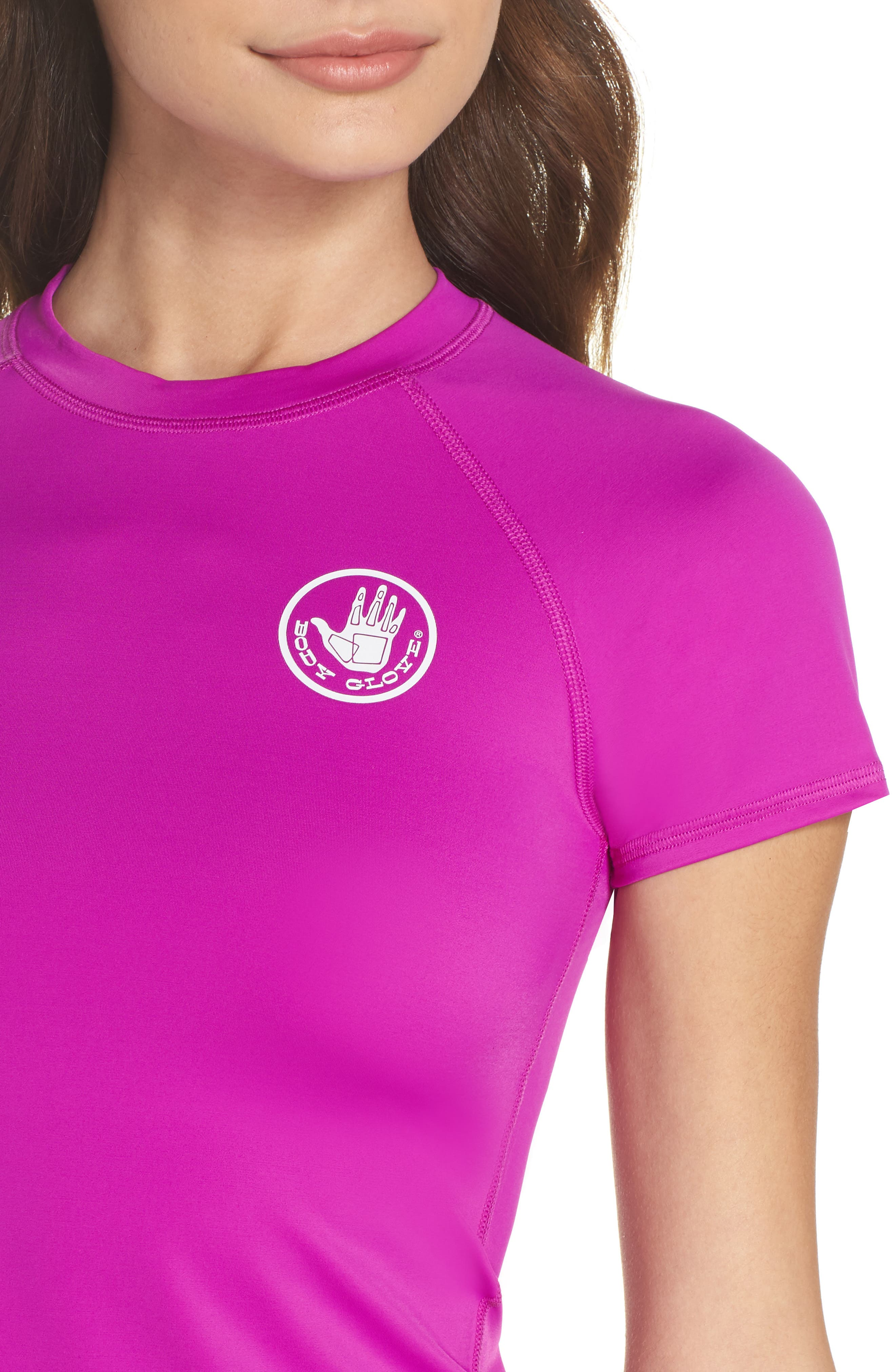 'Smoothies in Motion' Short Sleeve Rashguard,                             Alternate thumbnail 4, color,                             Magnolia