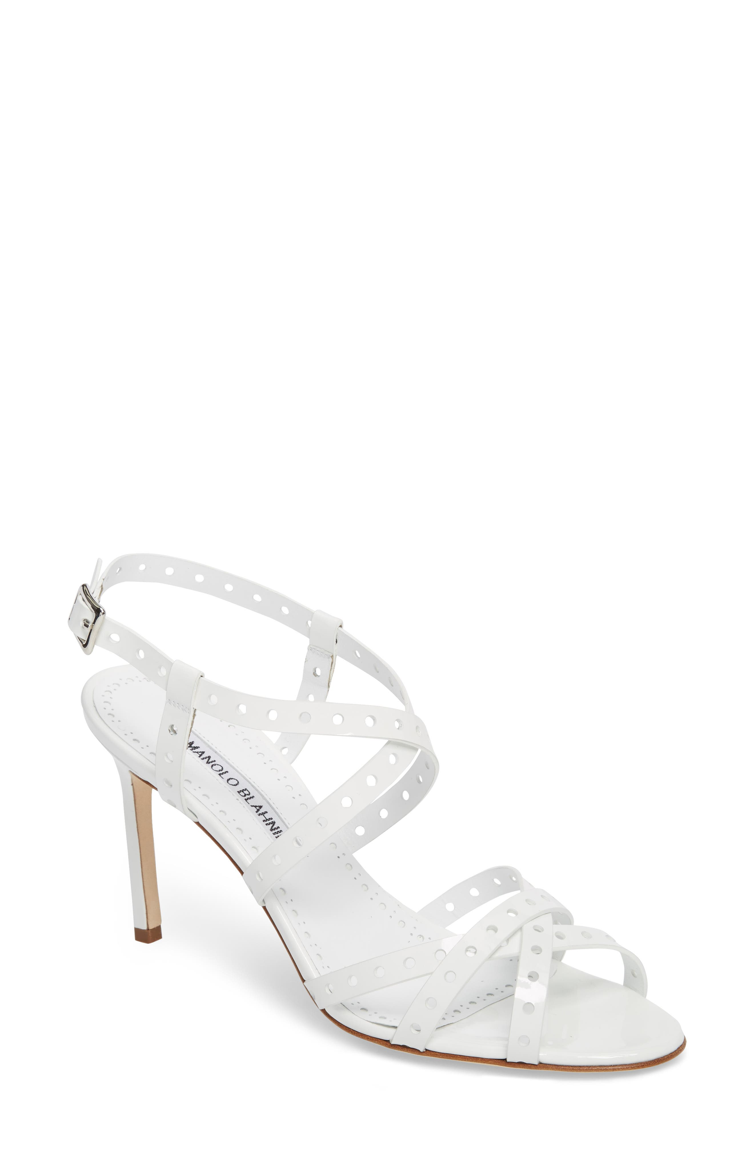 a3873264480 Manolo Blahnik Demure Perforated Strappy Sandal In White