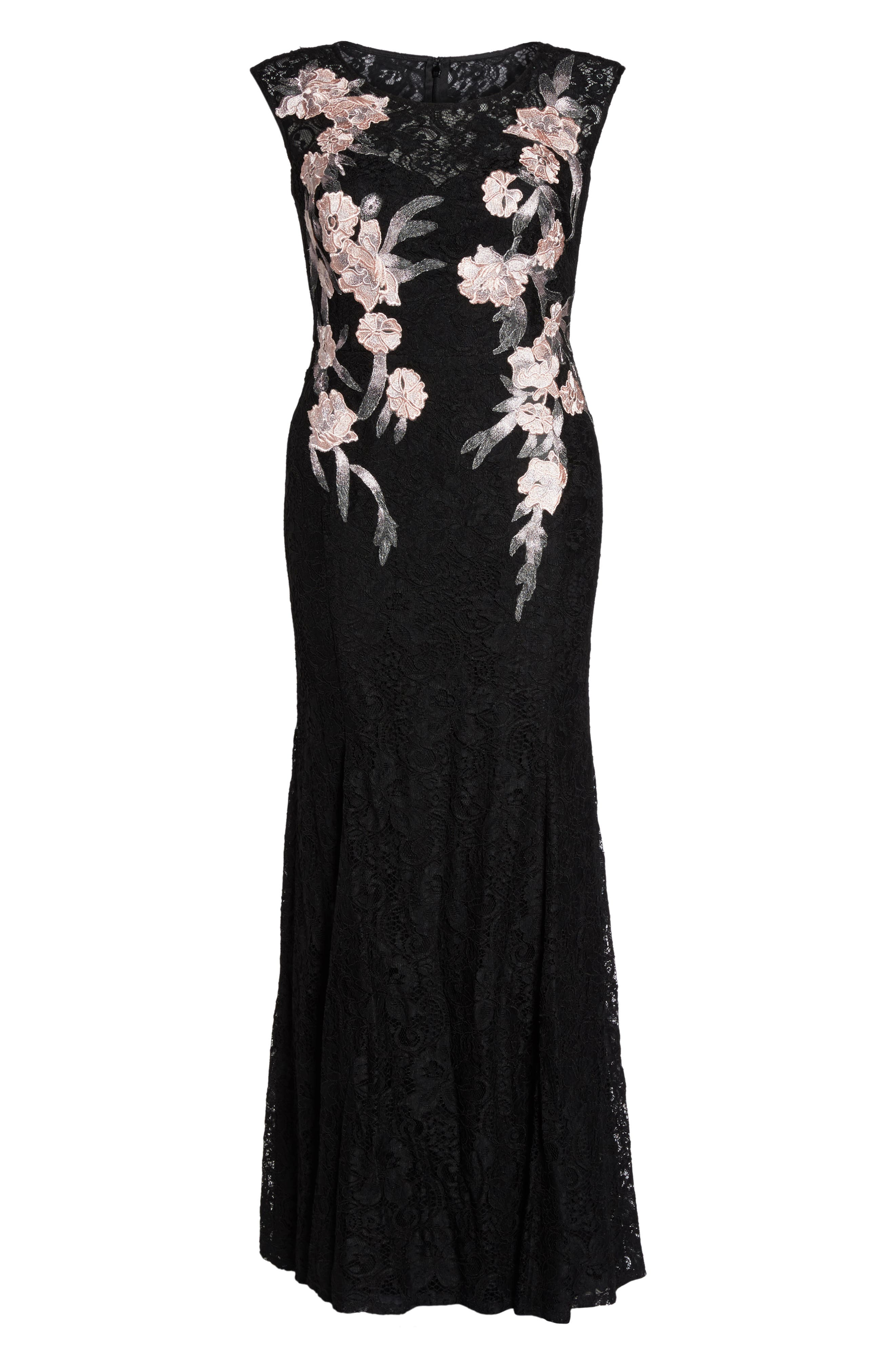 Floral Embroidered Lace Gown,                             Alternate thumbnail 6, color,                             Black/ Blush