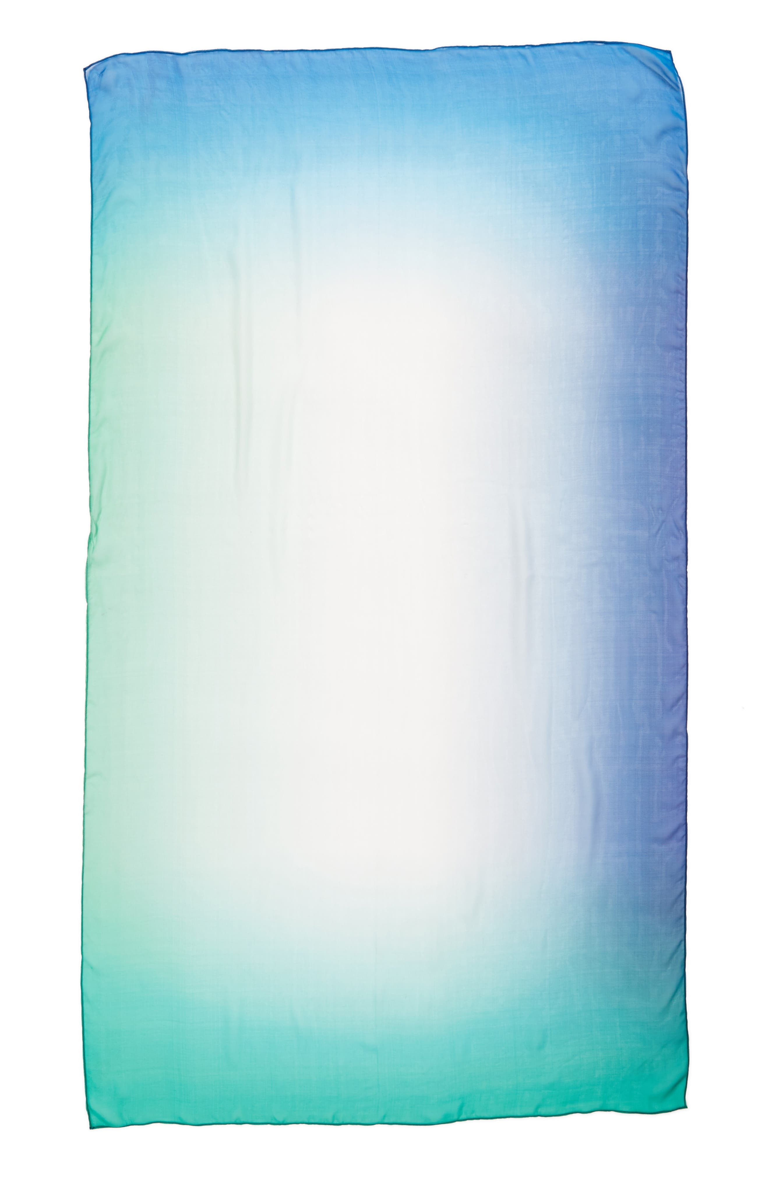Silk Chiffon Oblong Scarf,                             Alternate thumbnail 3, color,                             Teal Ombre Whisper