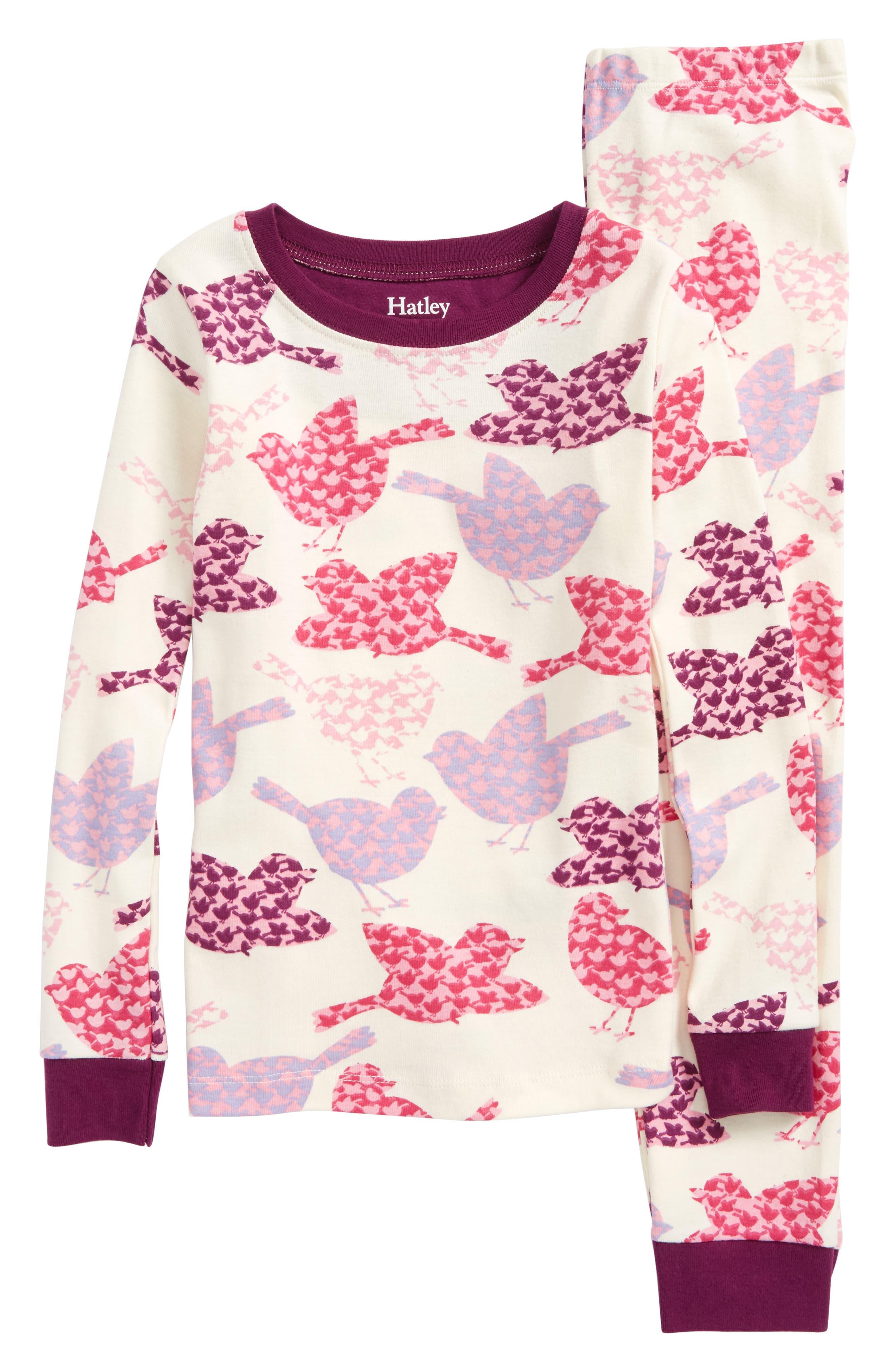 Main Image - Hatley Bird Print Organic Cotton Fitted Two-Piece Pajamas (Toddler Girls, Little Girls & Big Girls)