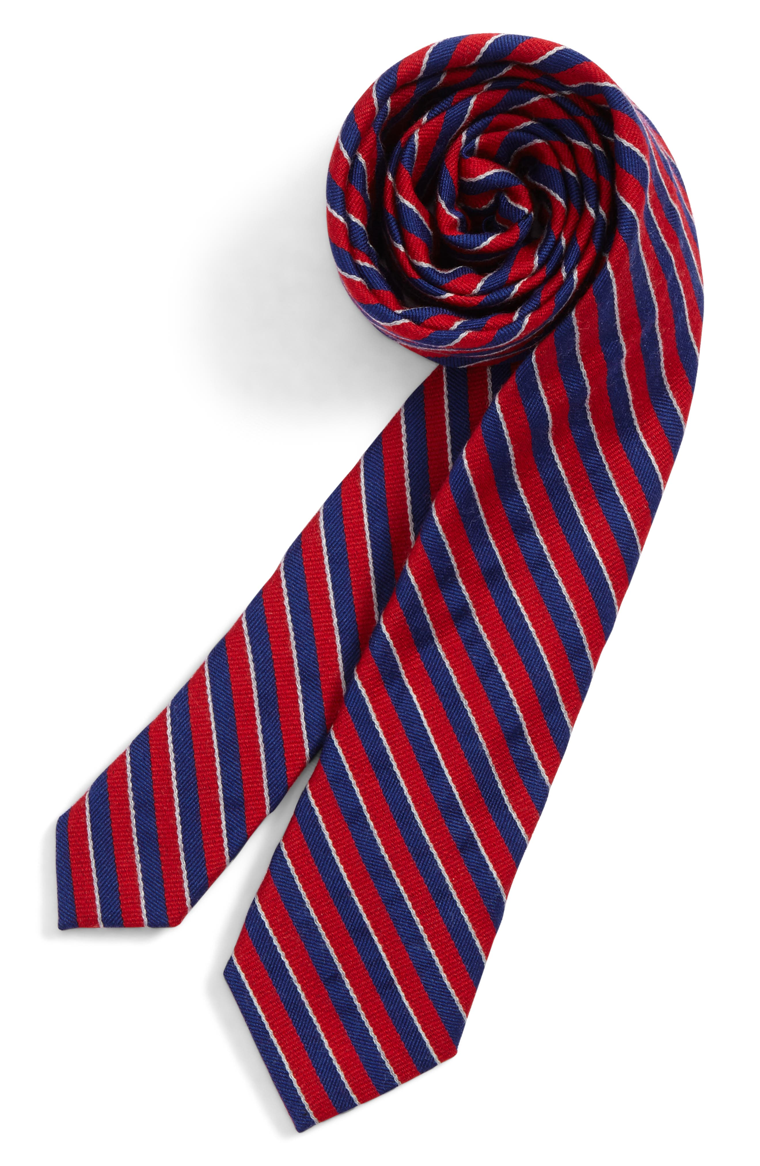 Stripe Wool & Silk Tie,                             Main thumbnail 1, color,                             Red
