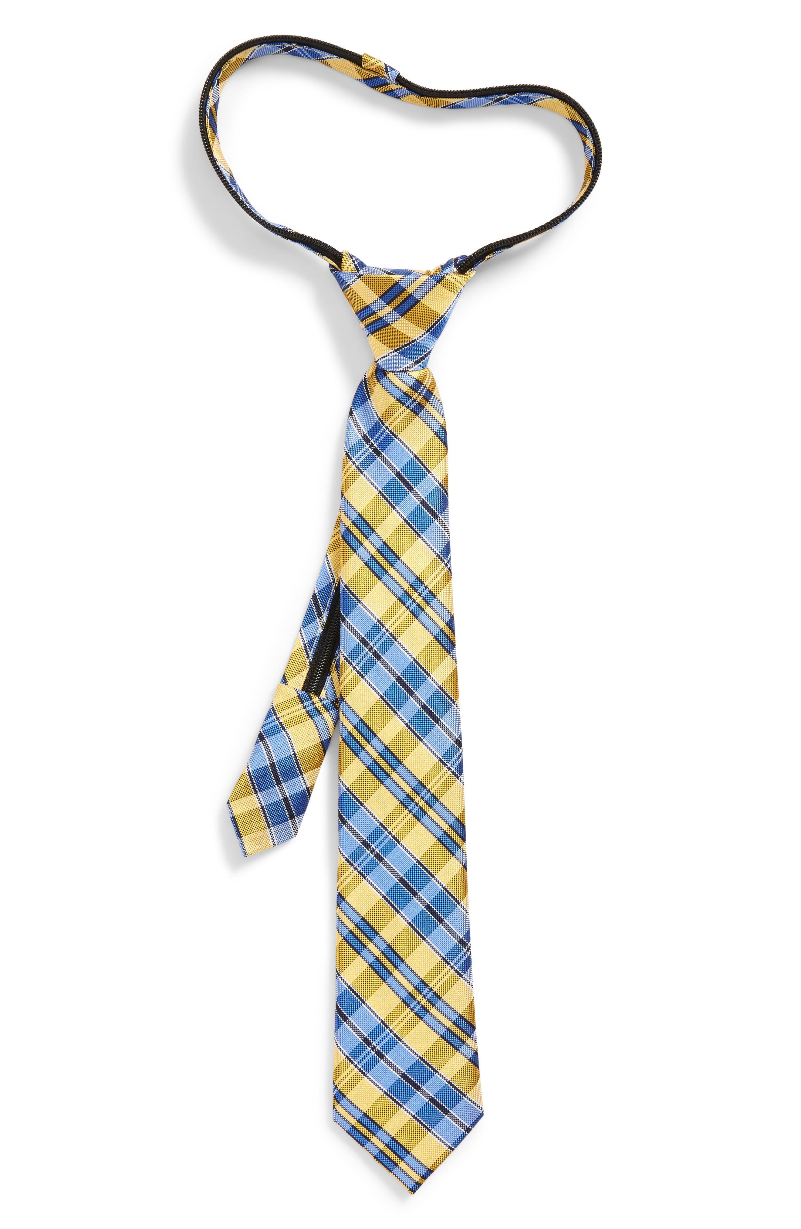 Plaid Silk Zip Tie,                         Main,                         color, Gold