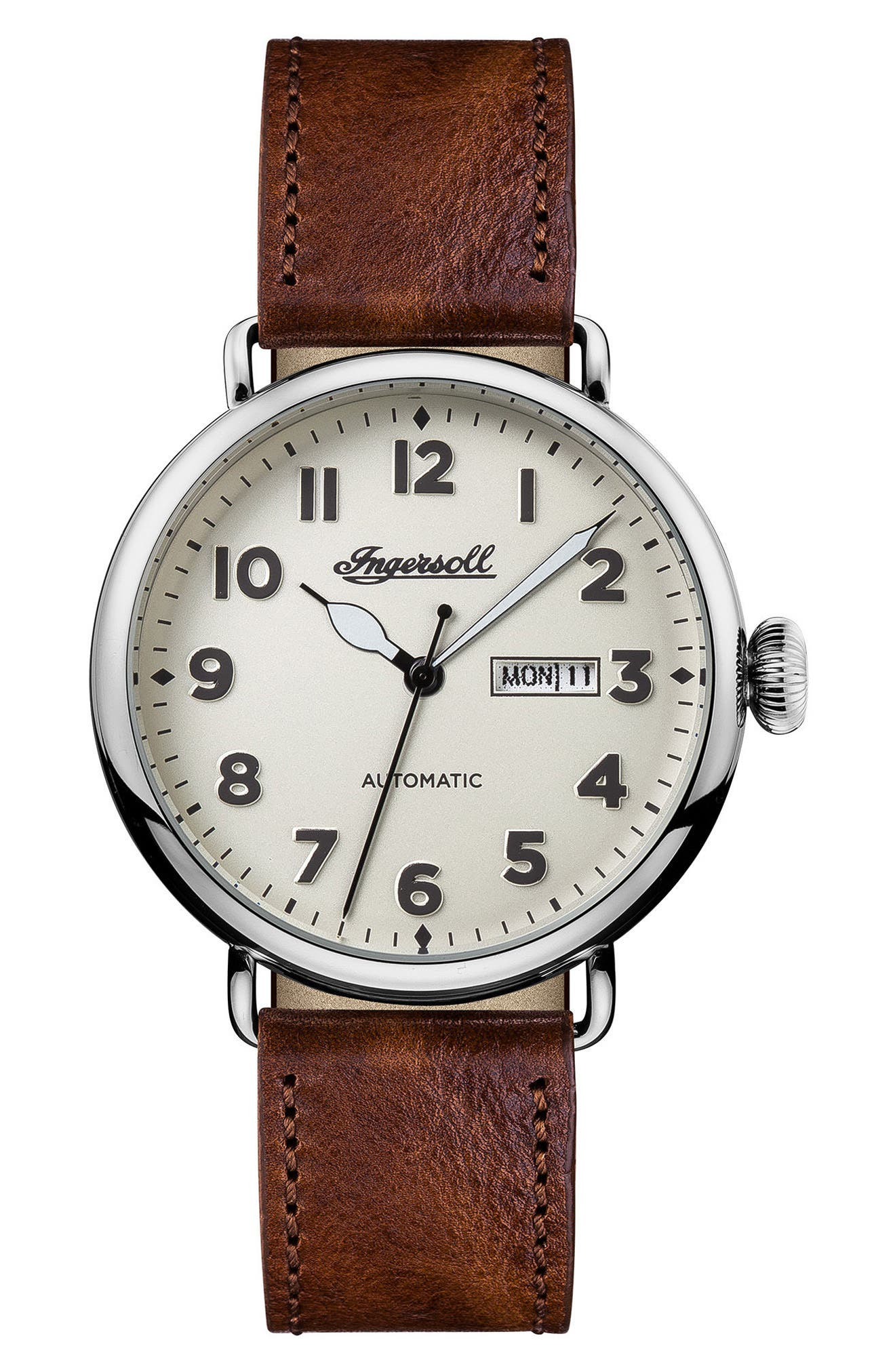 Ingersoll Trenton Automatic Leather Strap Watch, 44mm,                             Main thumbnail 1, color,                             Brown/ Beige/ Silver