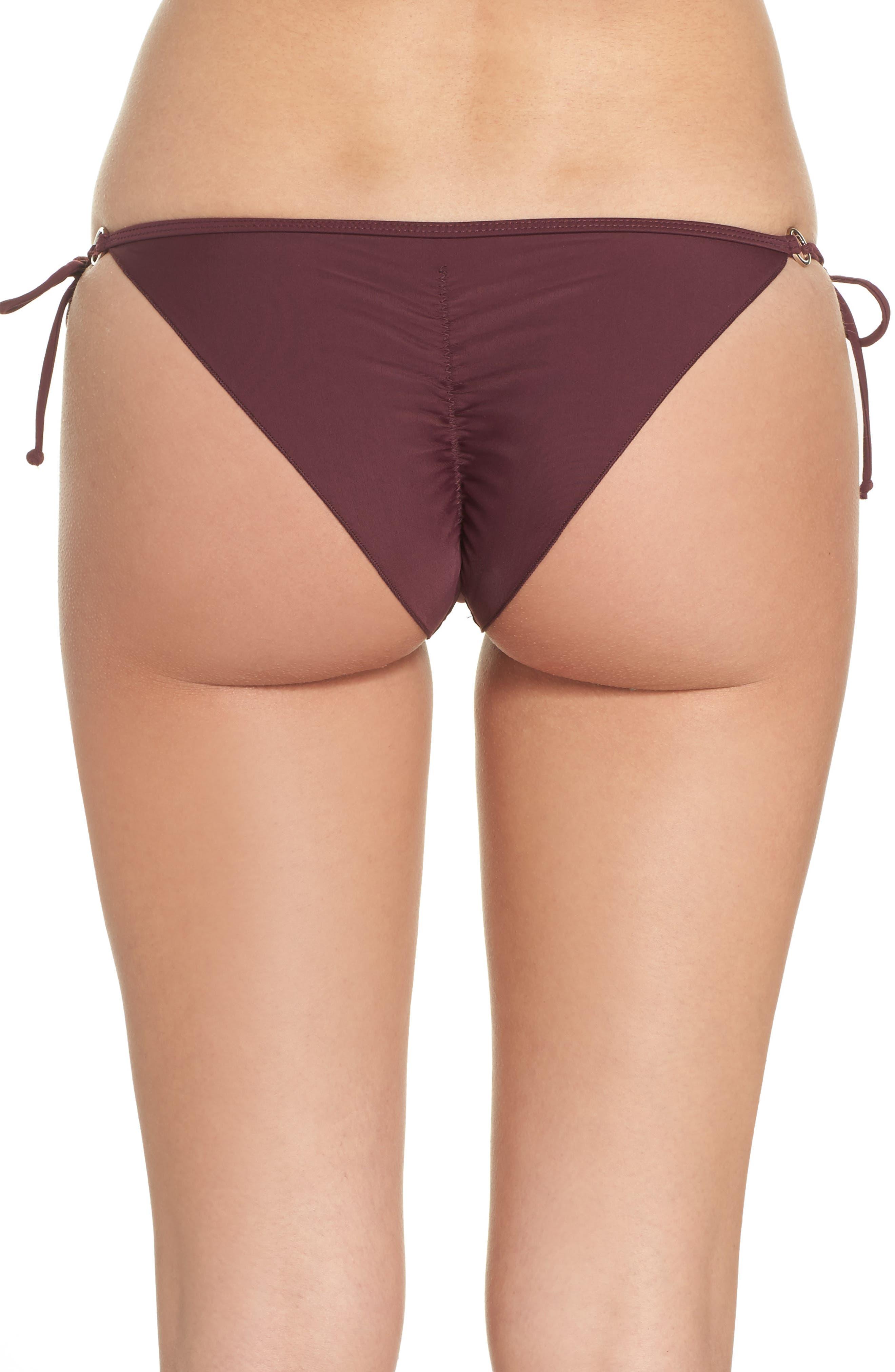 'Smoothies - Brasilia' Side Tie Bikini Bottoms,                             Alternate thumbnail 2, color,                             Porto