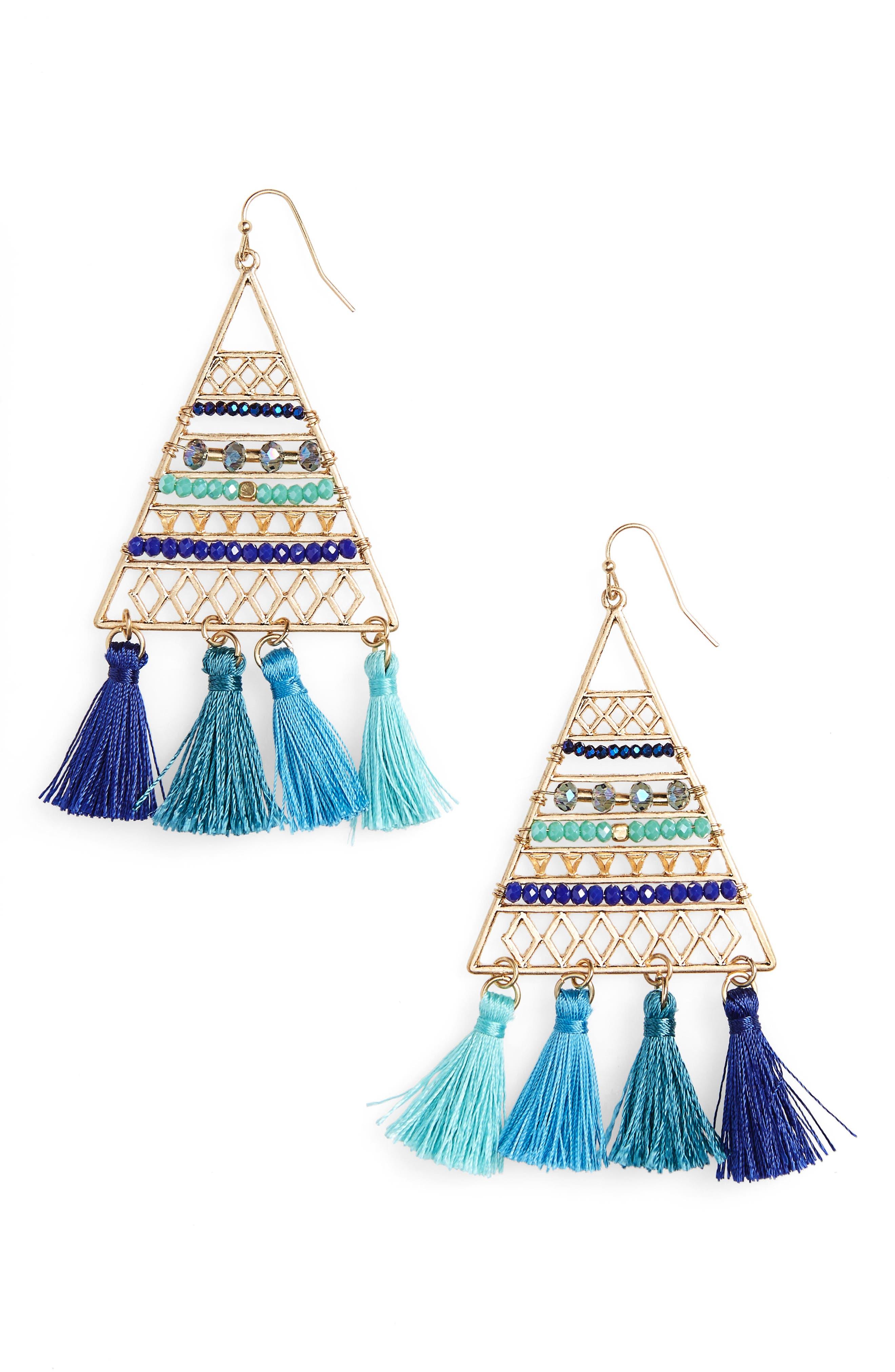Triangle Bead & Tassel Earrings,                         Main,                         color, Blue