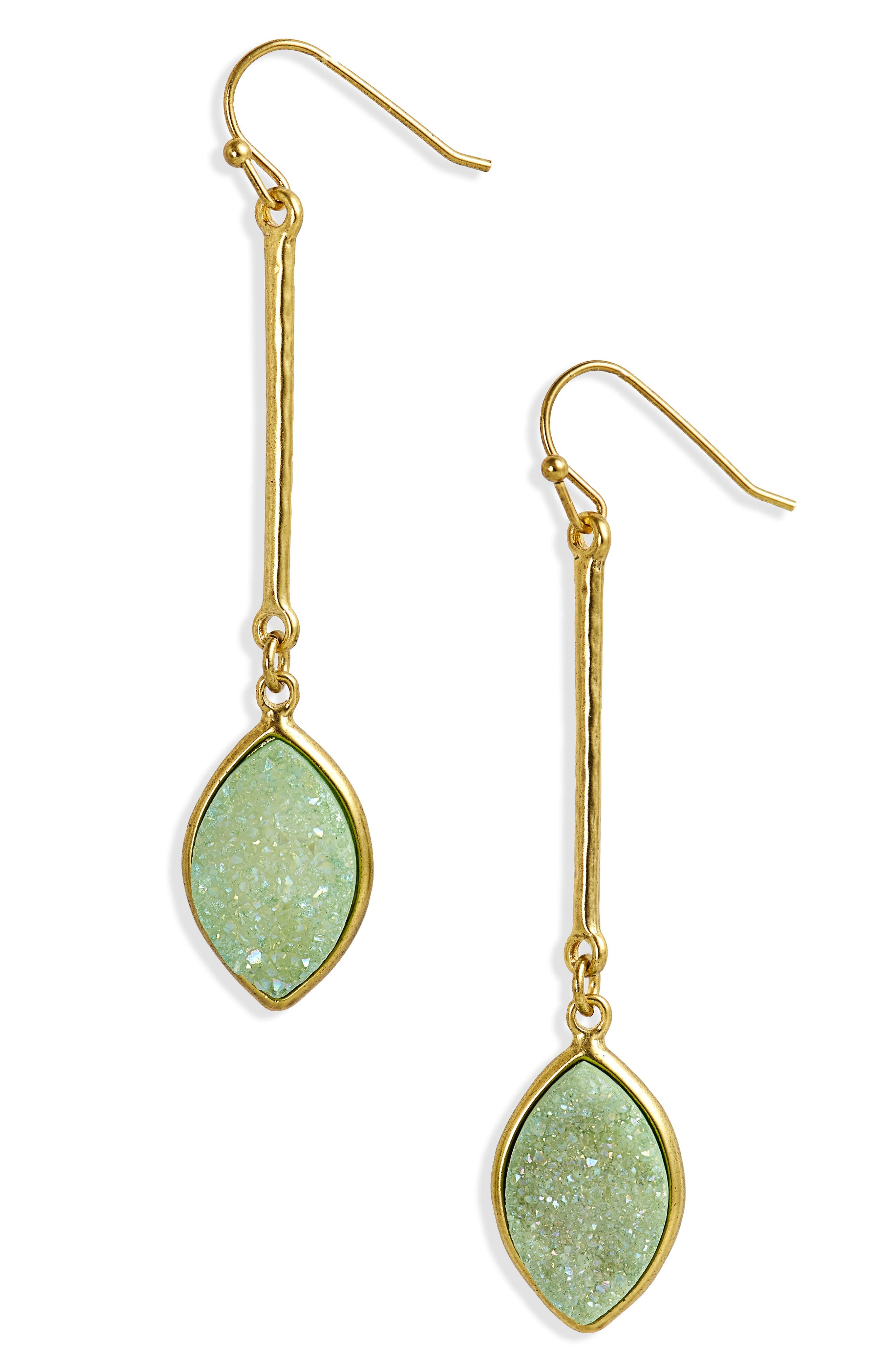 Drusy Linear Drop Earrings,                             Main thumbnail 1, color,                             Green- Gold