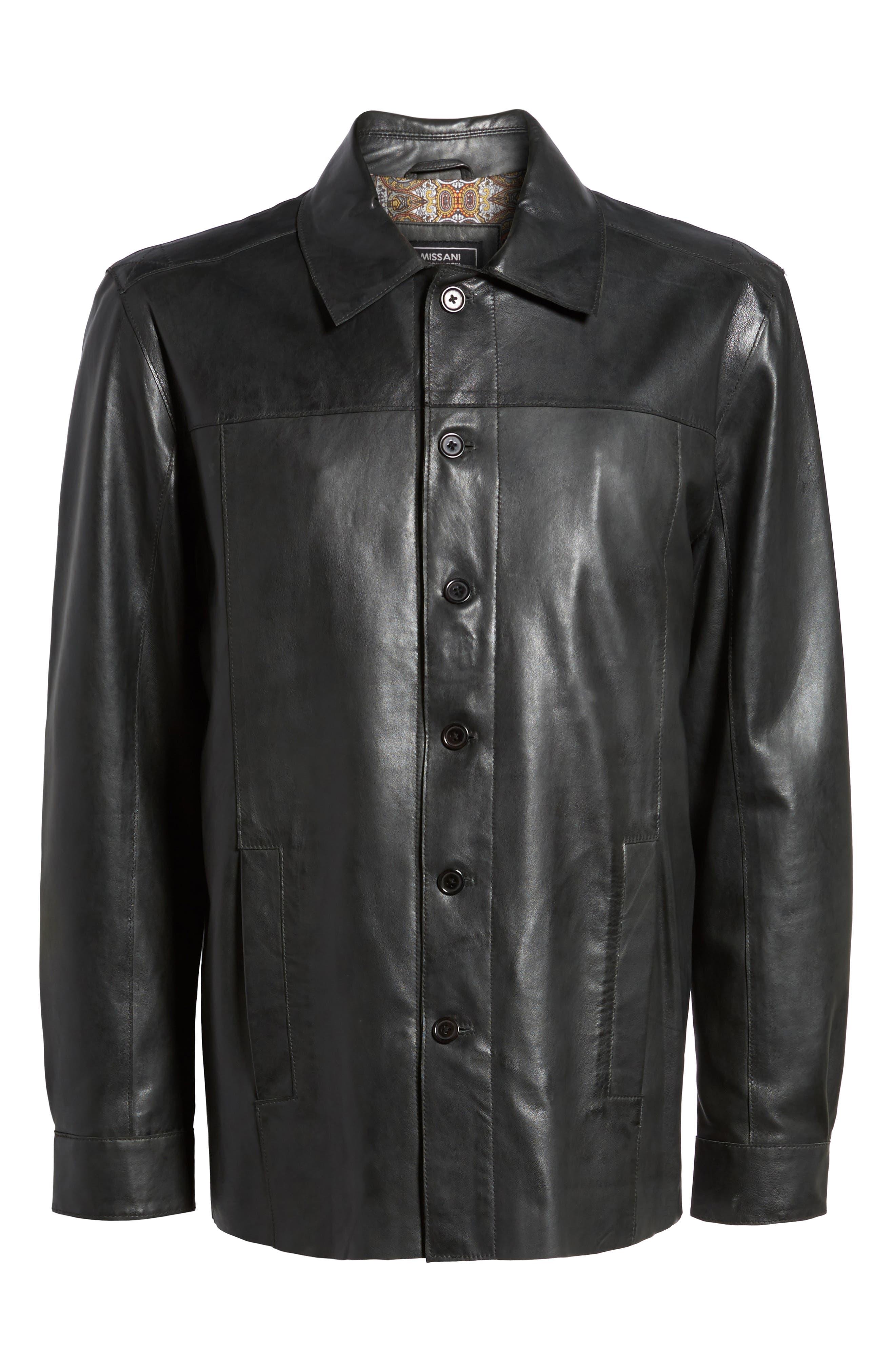 Vintage Leather Sport Coat,                             Alternate thumbnail 6, color,                             Black