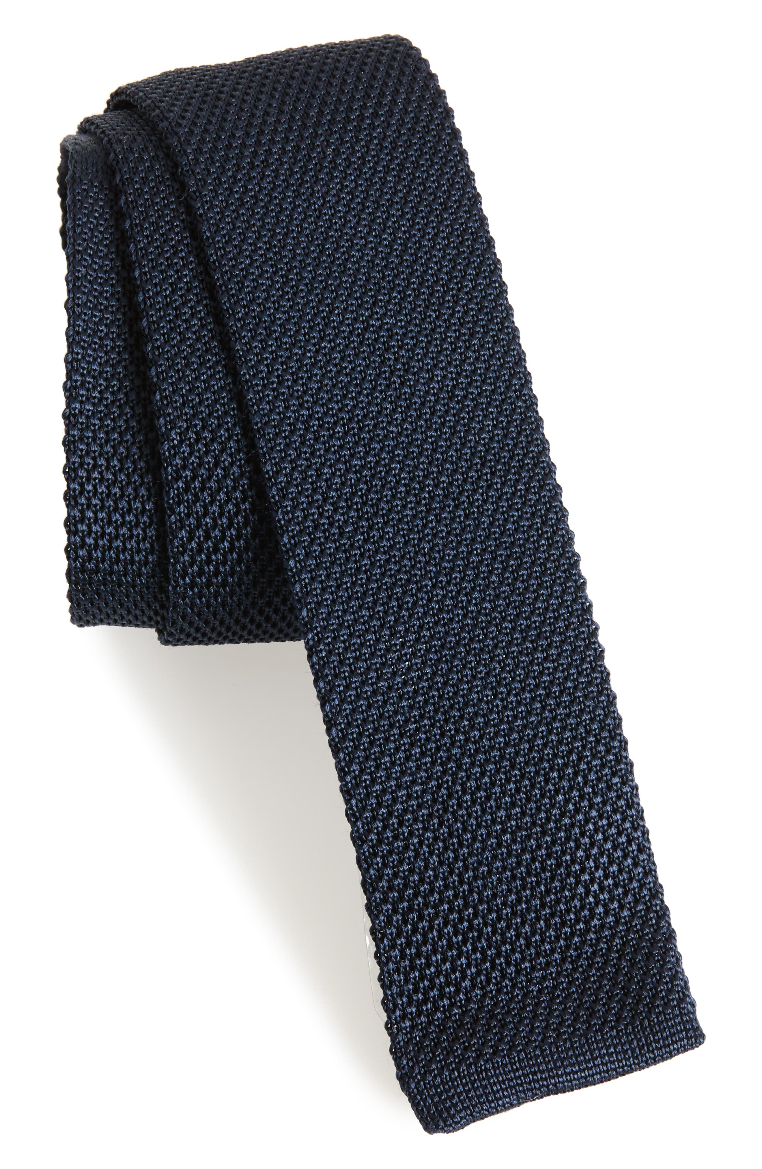 Solid Knit Silk Tie,                             Main thumbnail 1, color,                             Navy