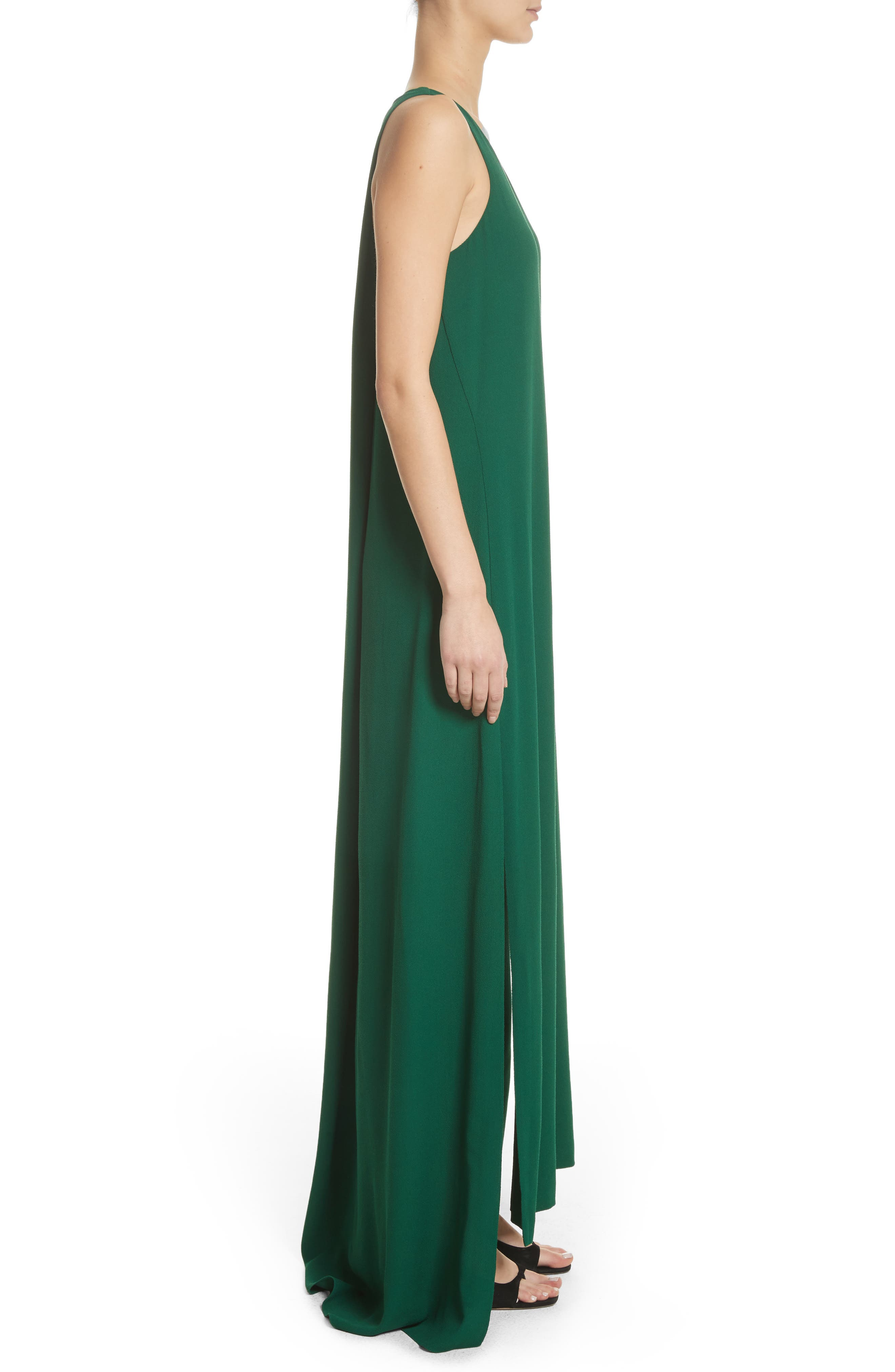 Crepe Cross Back Gown,                             Alternate thumbnail 4, color,                             Emerald