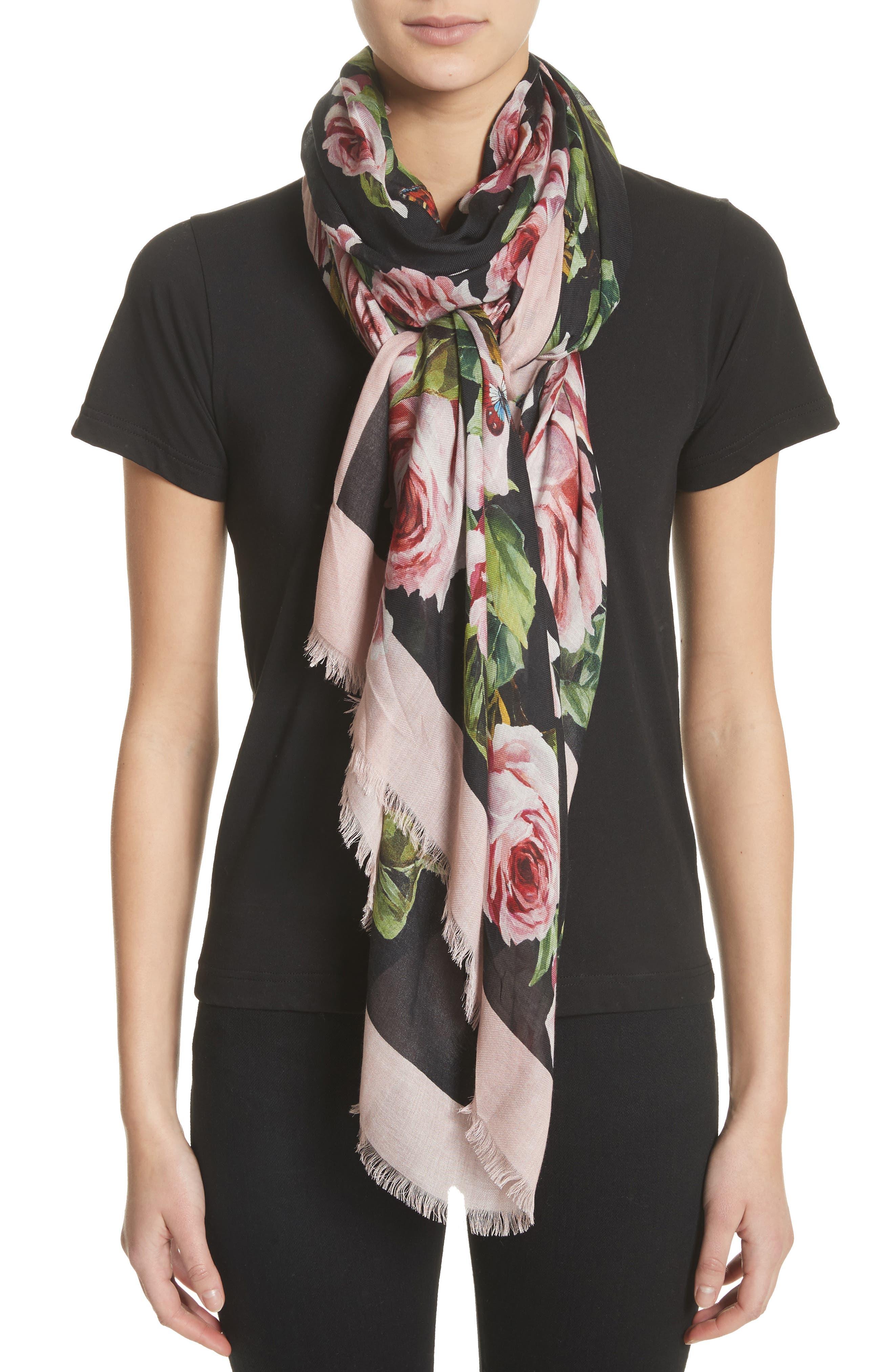Main Image - Dolce&Gabbana Rose Print Modal & Cashmere Scarf