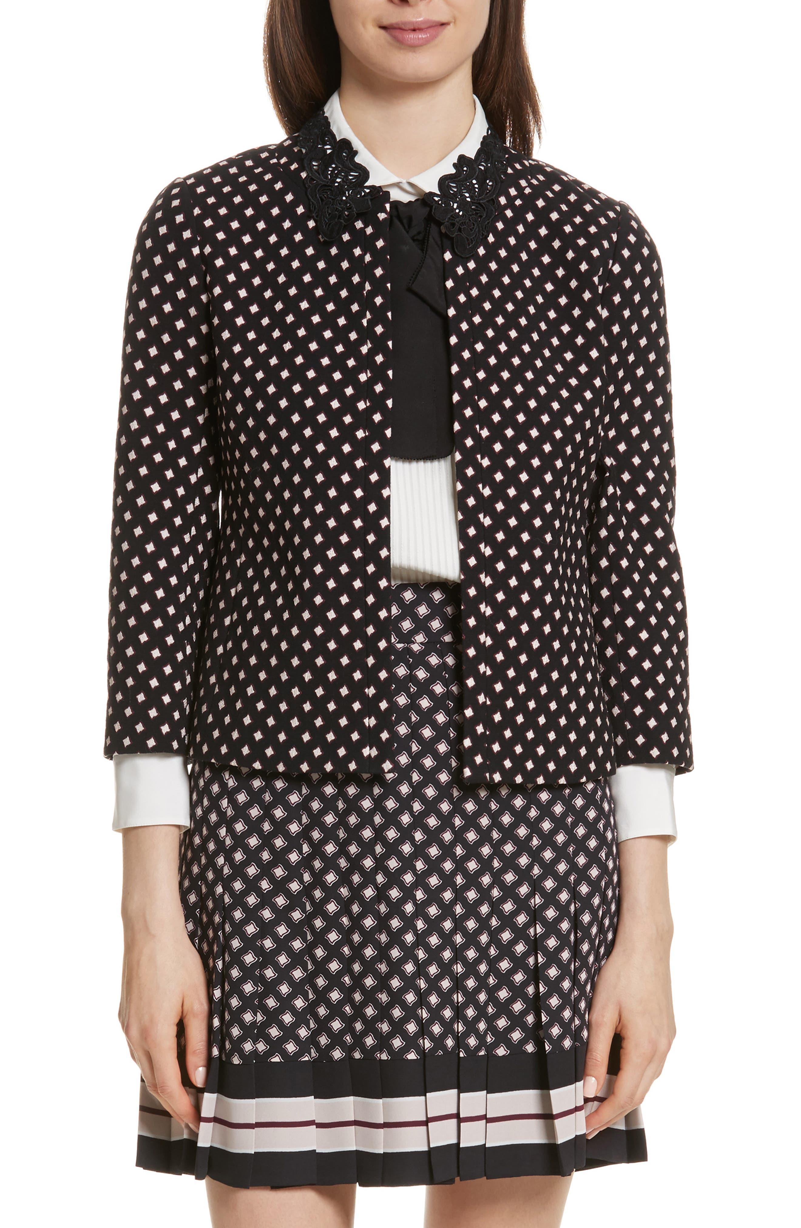 diamond jacquard jacket,                         Main,                         color, Black