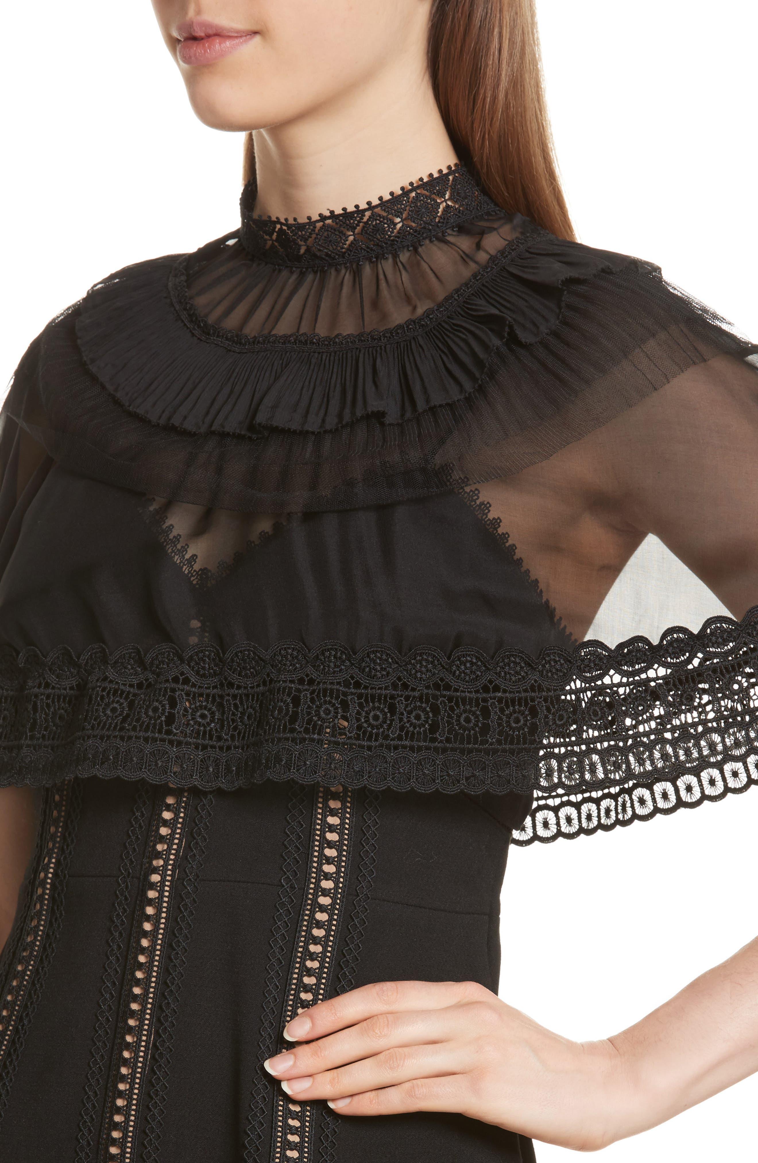 Trimmed Overlay Minidress,                             Alternate thumbnail 4, color,                             Black