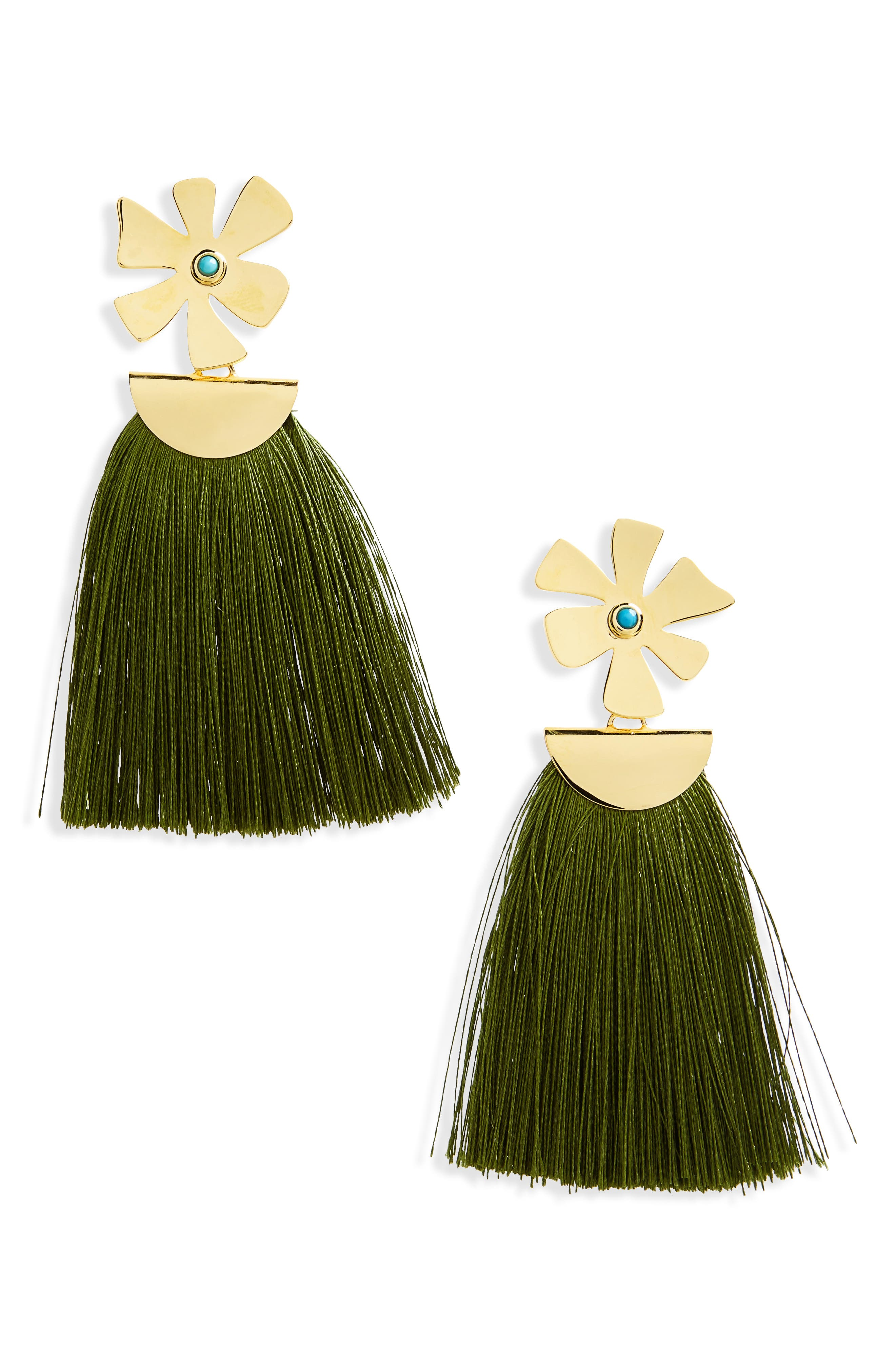 Lizze Fortunato Daisy Crater Drop Earrings,                         Main,                         color, Green/ Gold