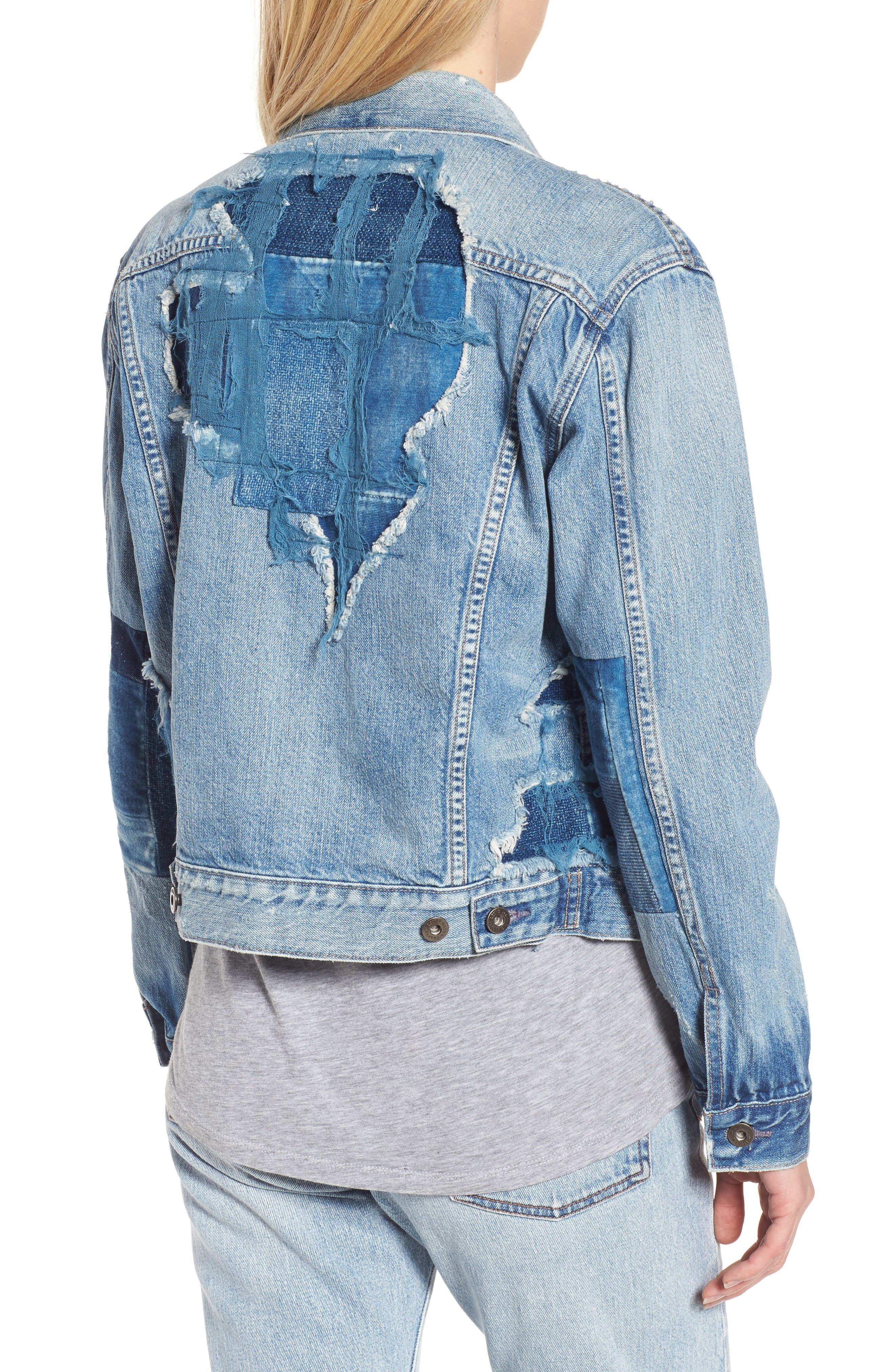Made & Crafted<sup>™</sup> Boyfriend Trucker Jacket,                             Alternate thumbnail 3, color,                             Taito Light