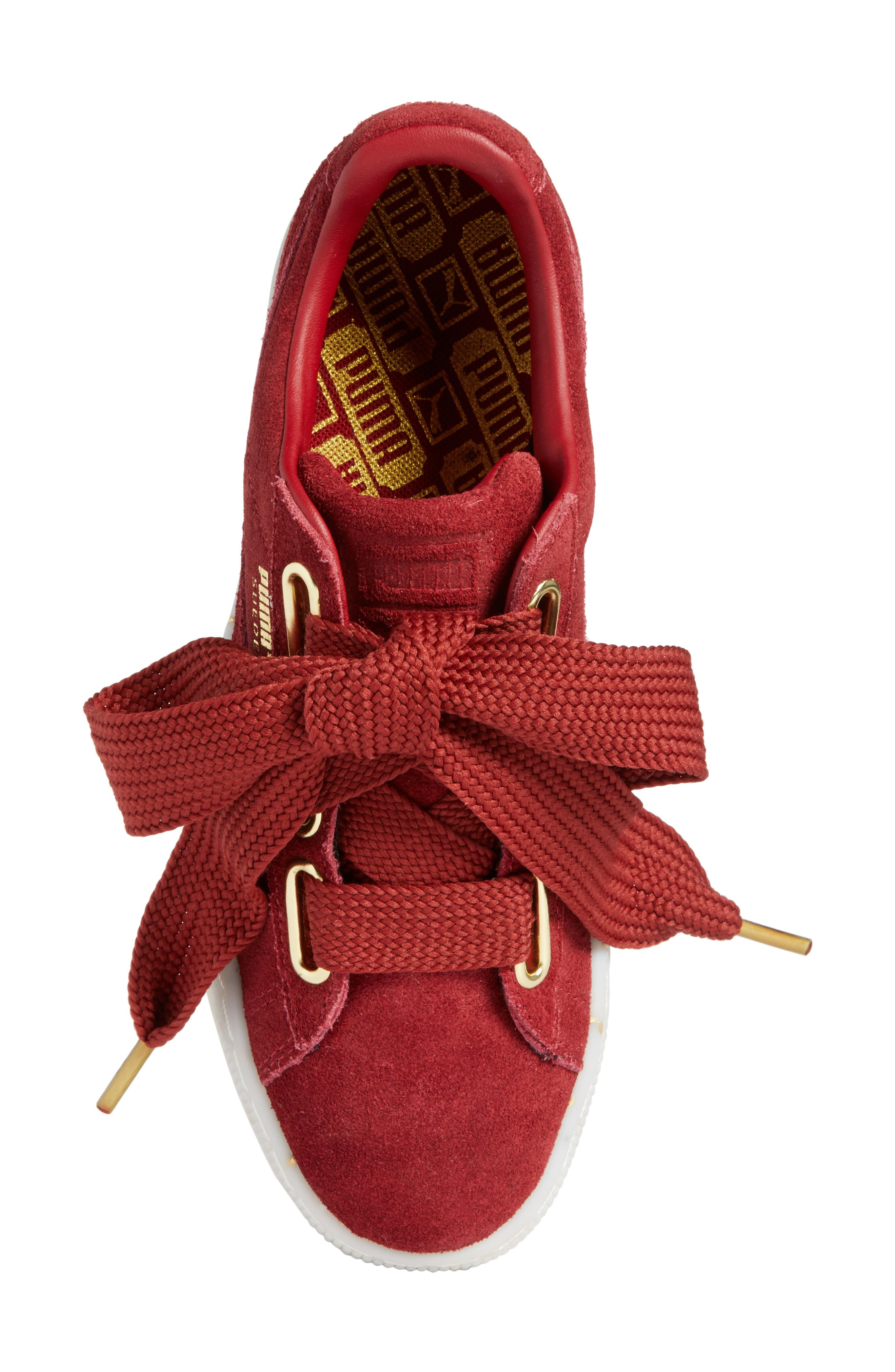 Suede - Heart Sneaker,                             Alternate thumbnail 5, color,                             Red Dahlia/ Red Dahlia