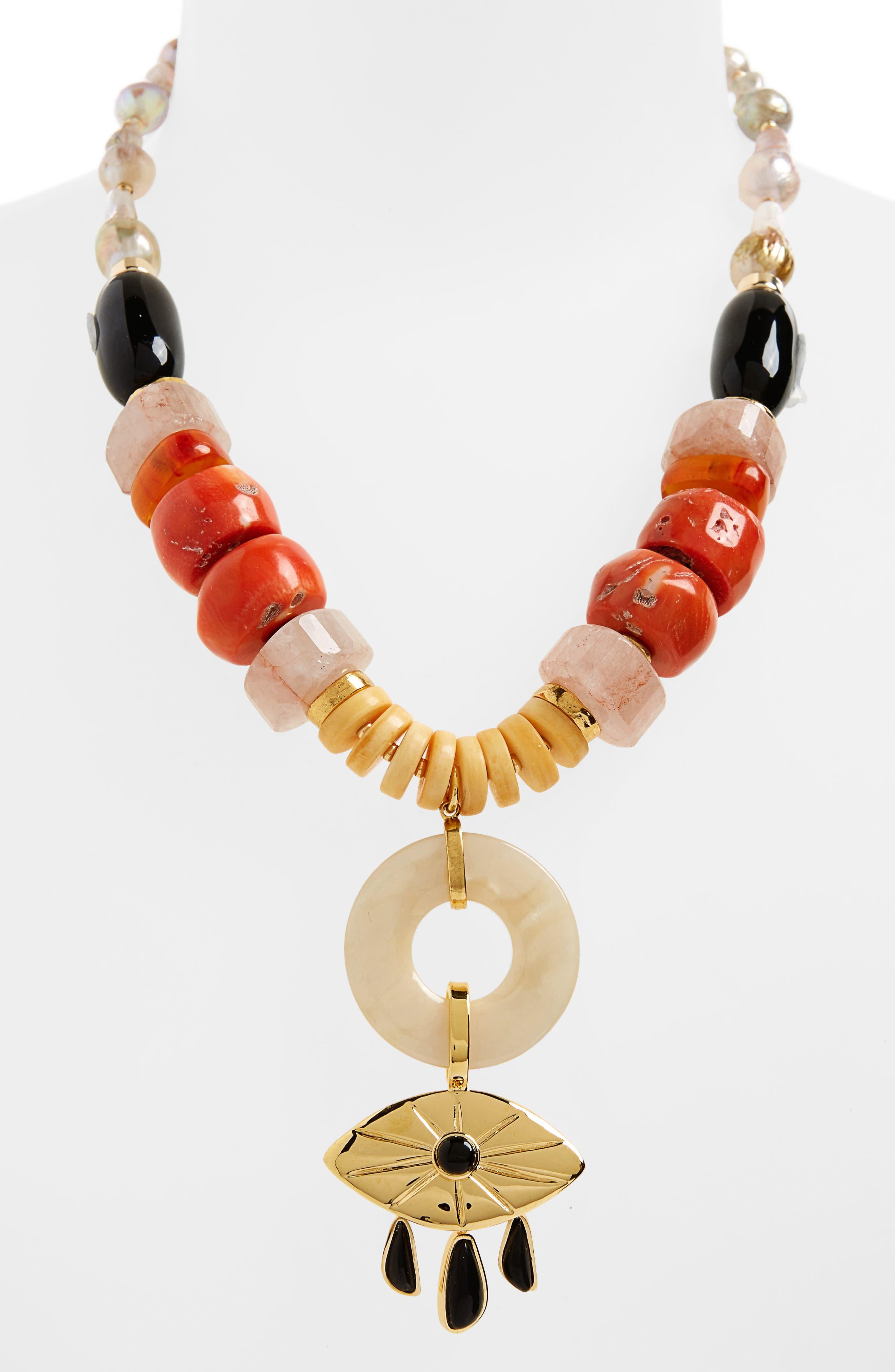 Capri Beaded Necklace,                             Alternate thumbnail 2, color,                             Gold Multi