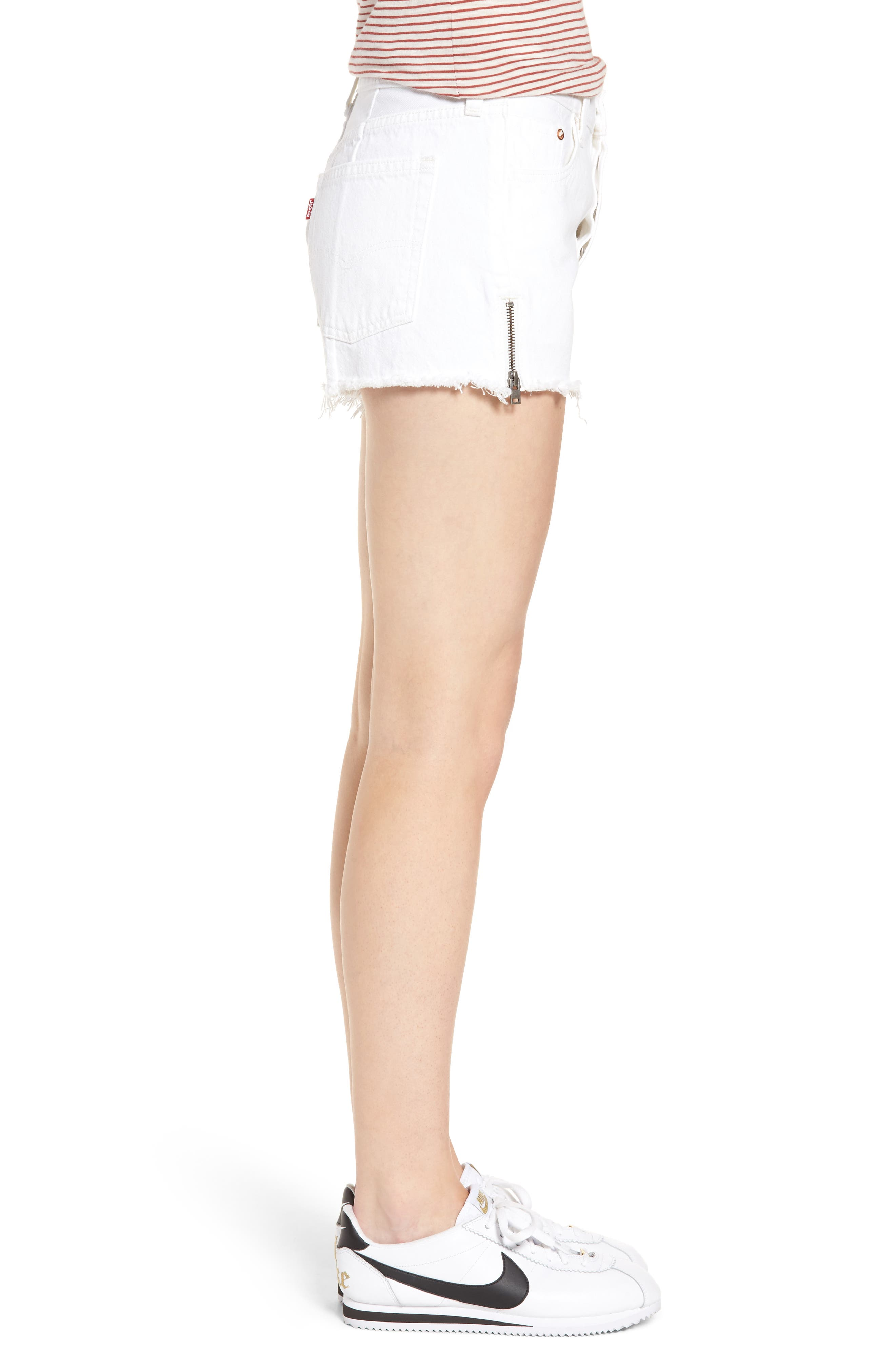 501<sup>®</sup> Altered Zip Denim Shorts,                             Alternate thumbnail 3, color,                             Seeing White