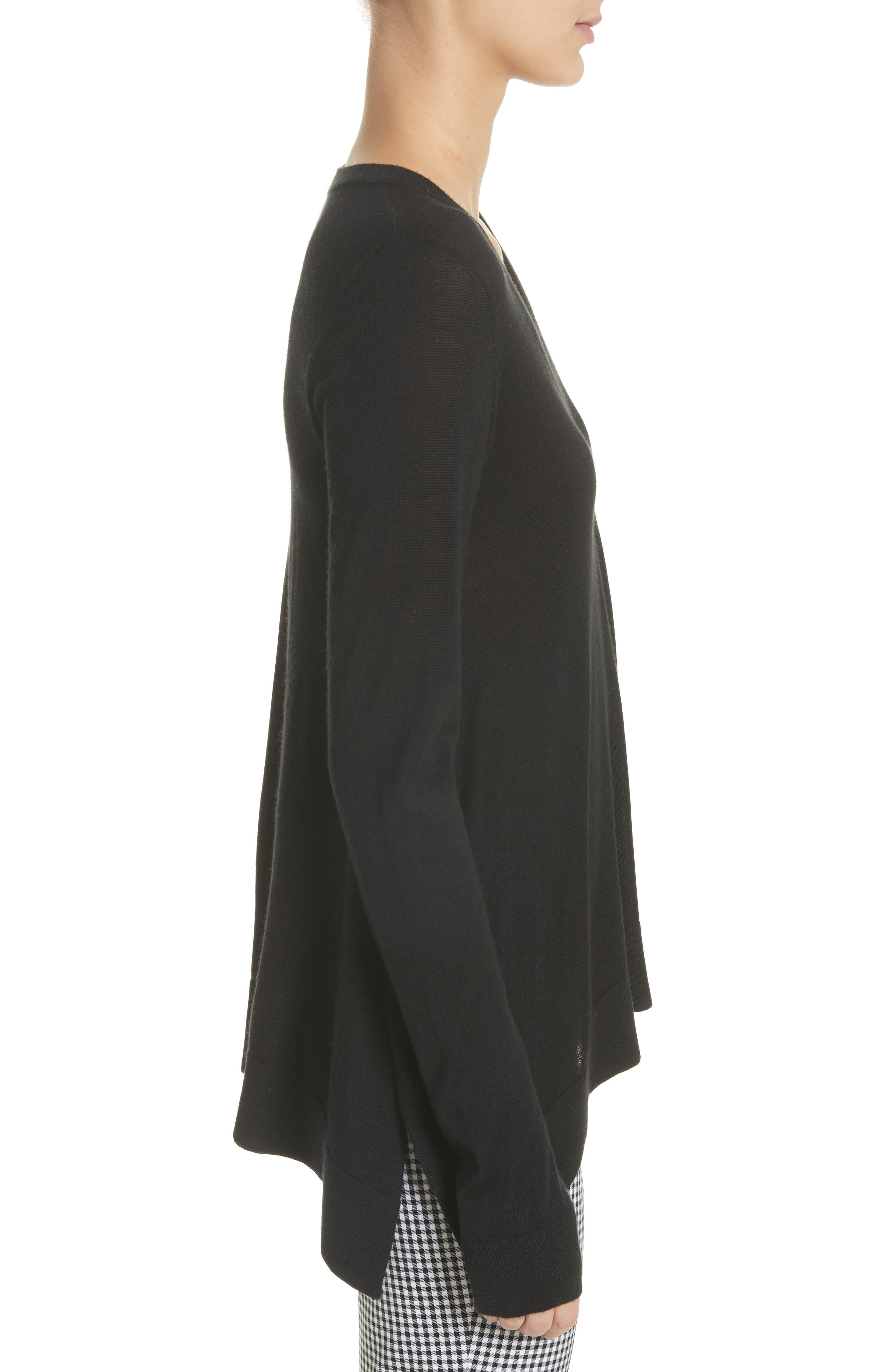 Draped Wool, Silk & Cashmere Sweater,                             Alternate thumbnail 3, color,                             Black