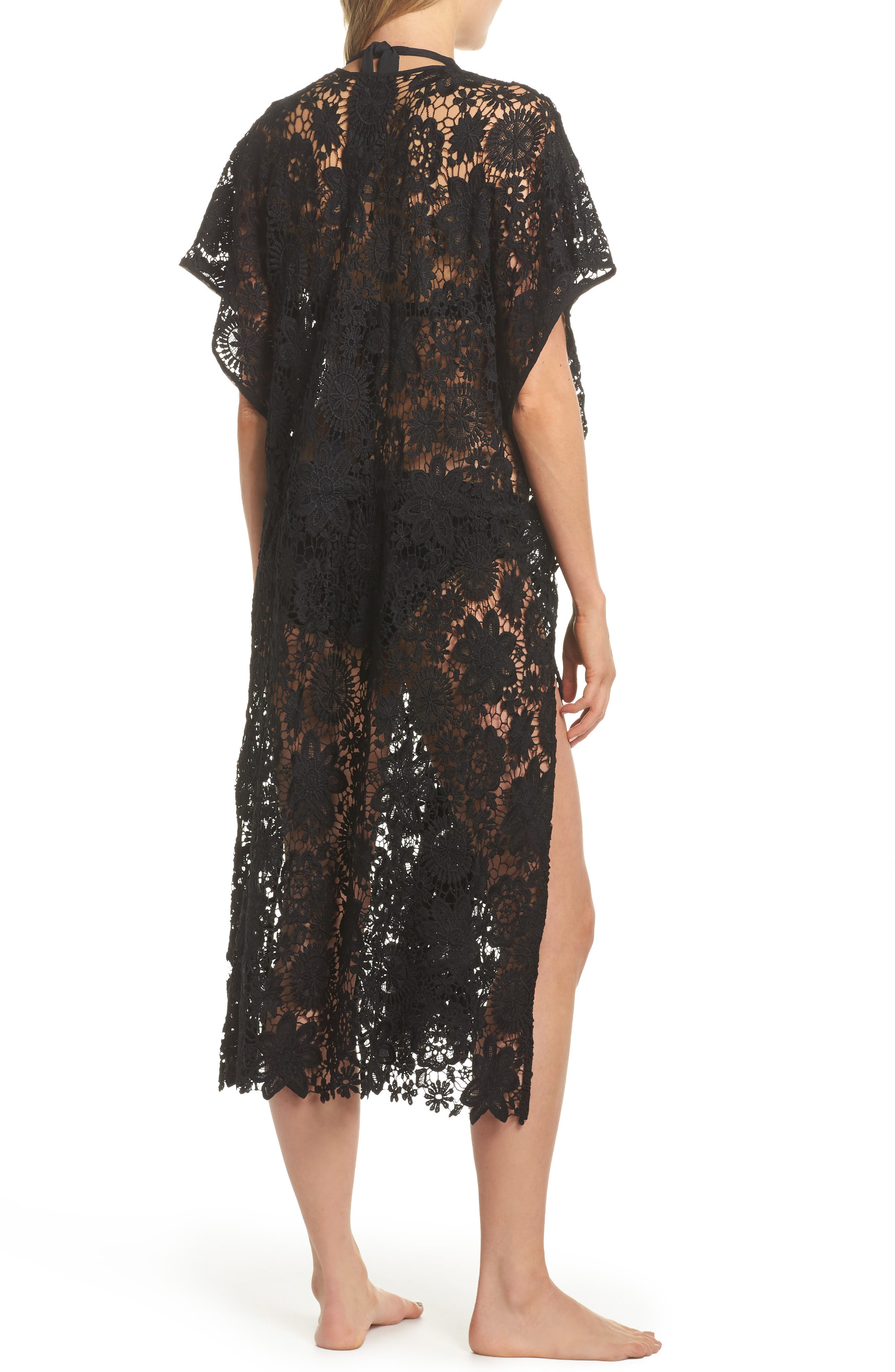 Star Coral Lace Cover-Up Tunic,                             Alternate thumbnail 2, color,                             Black