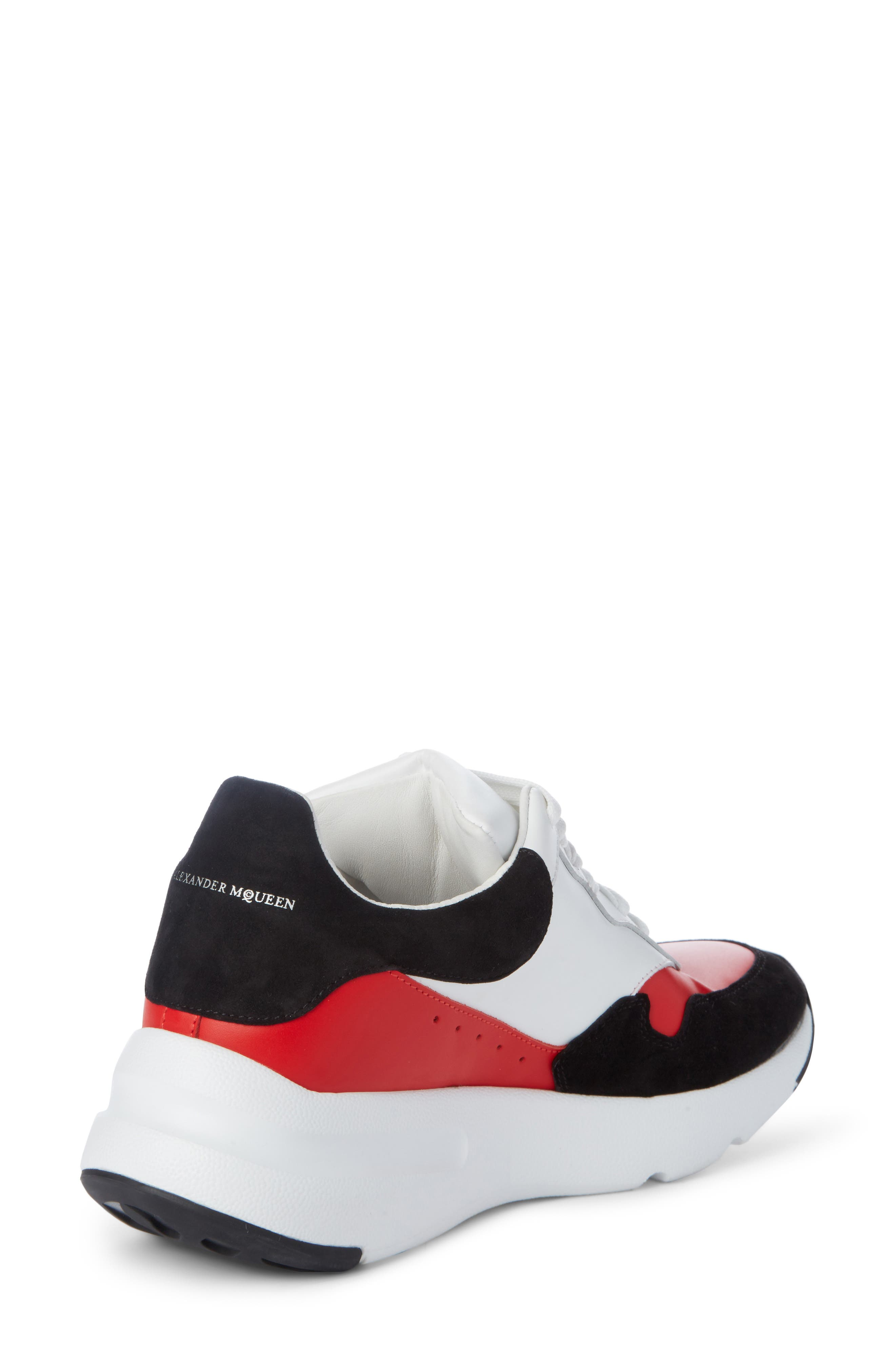 Runner Lace-Up Sneaker,                             Alternate thumbnail 2, color,                             Black/ Red/ White