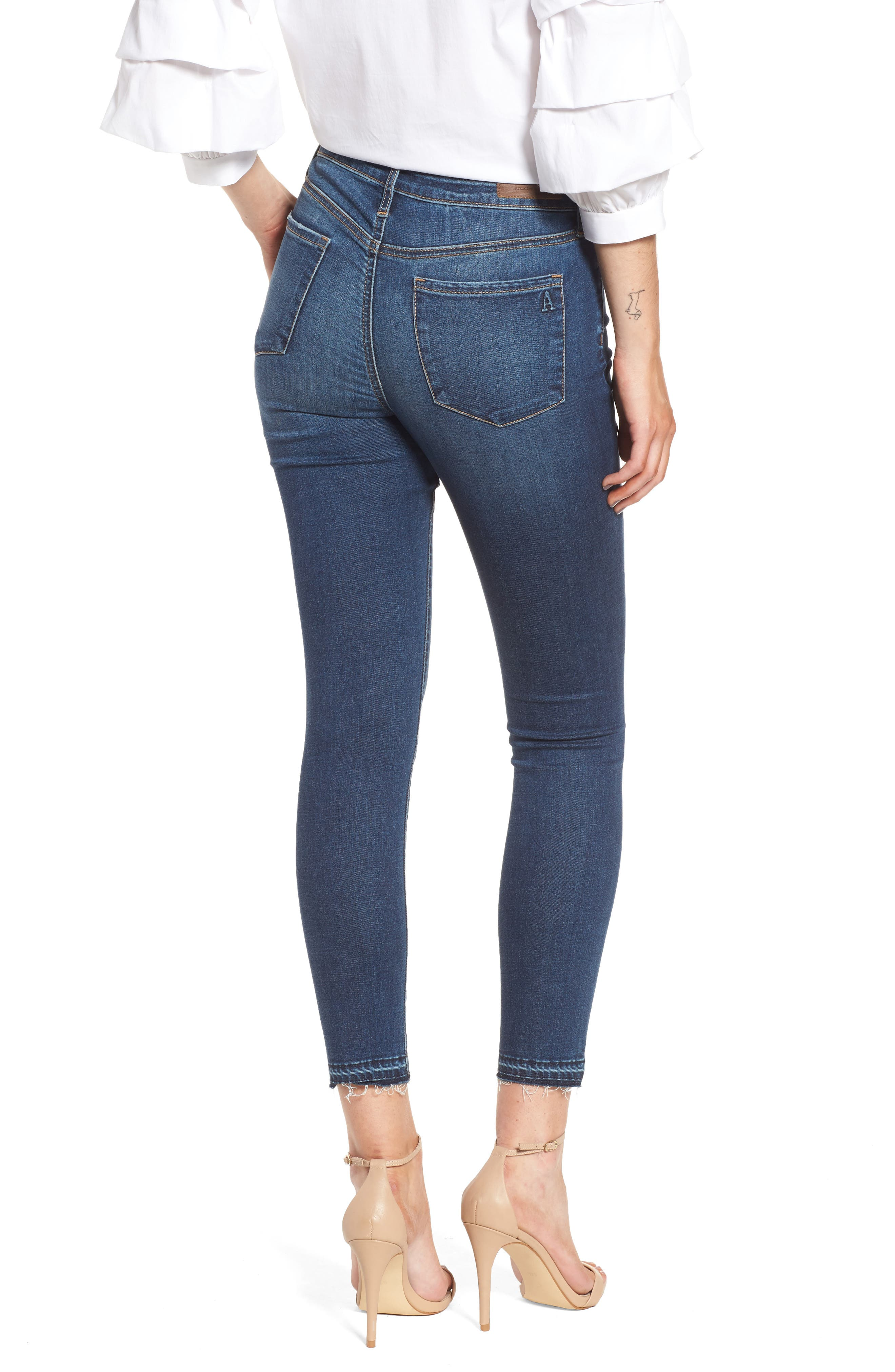 Heather High Waist Crop Skinny Jeans,                             Alternate thumbnail 2, color,                             Bilbao