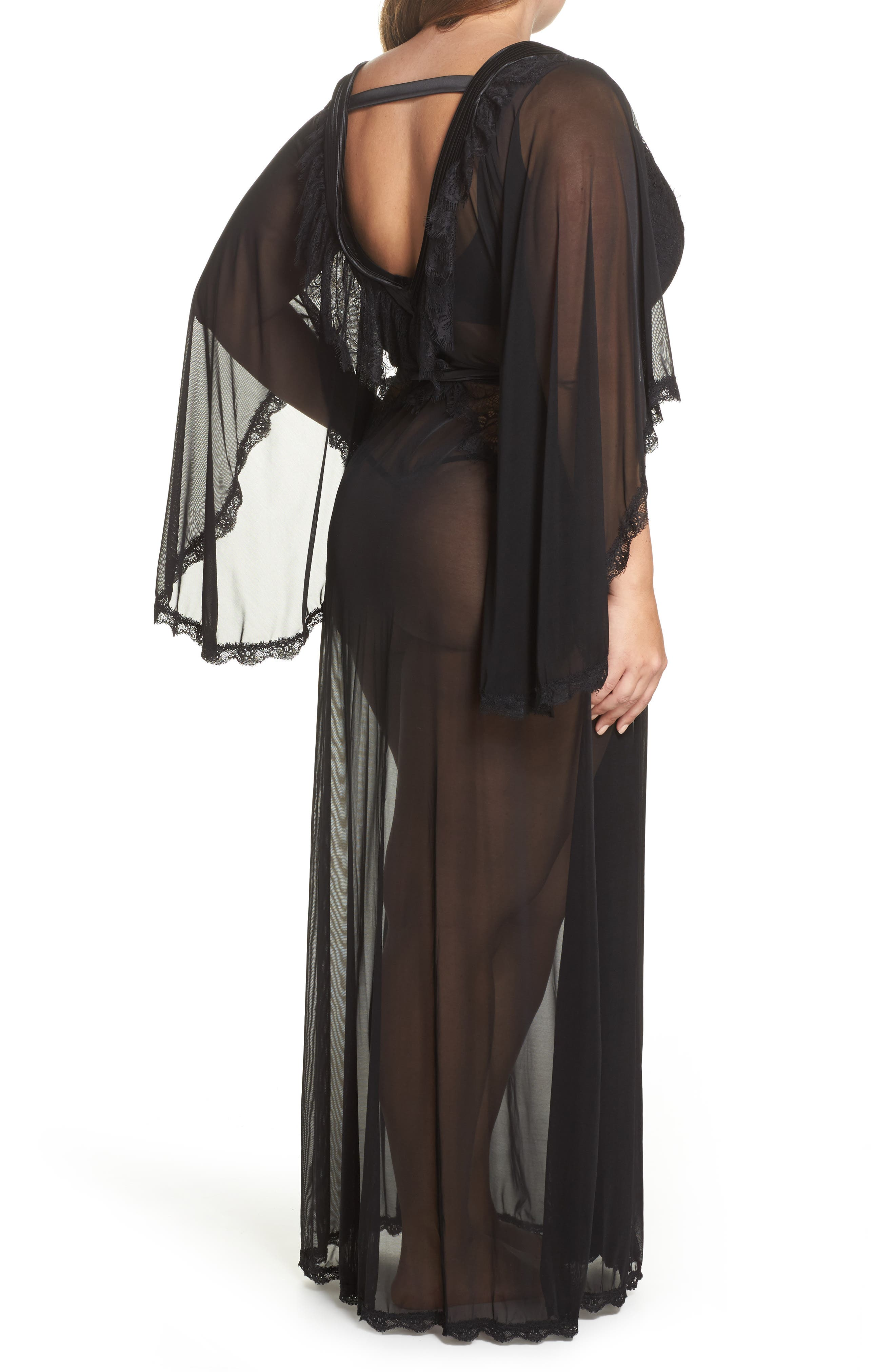 Alternate Image 2  - Oh La La Cheri Nicolette Sheer Robe & G-String (Plus Size)