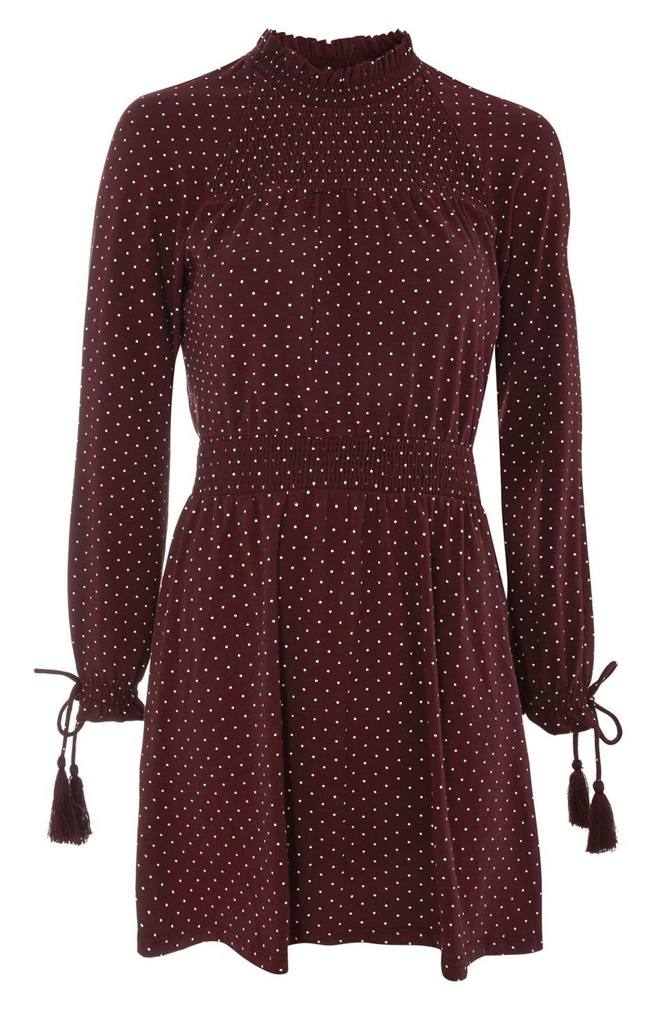 Alternate Image 5  - Topshop Polka Dot Shirred Waist Dress