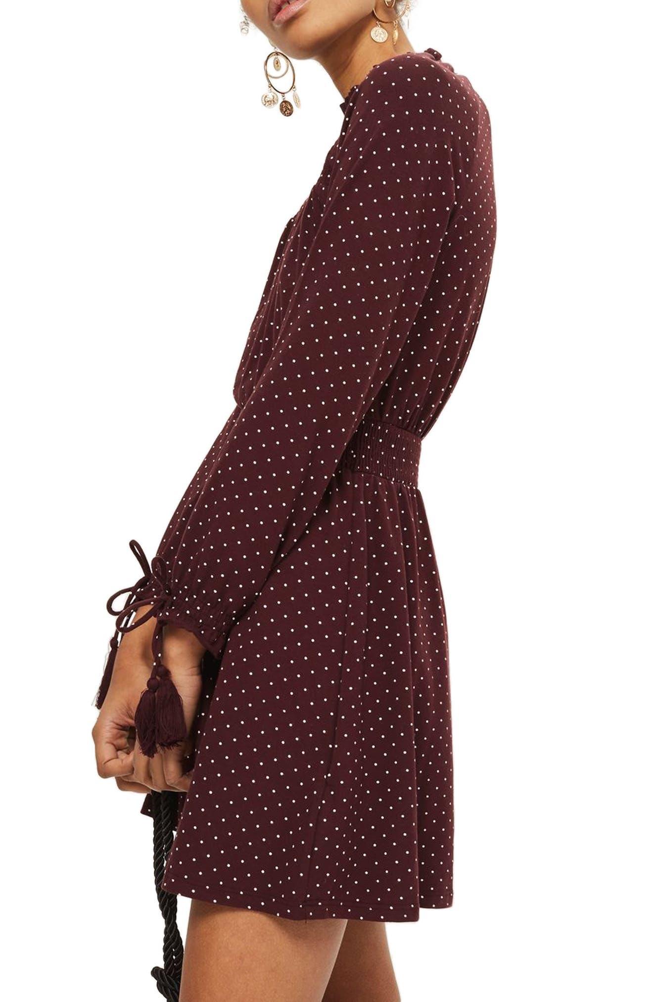 Alternate Image 4  - Topshop Polka Dot Shirred Waist Dress