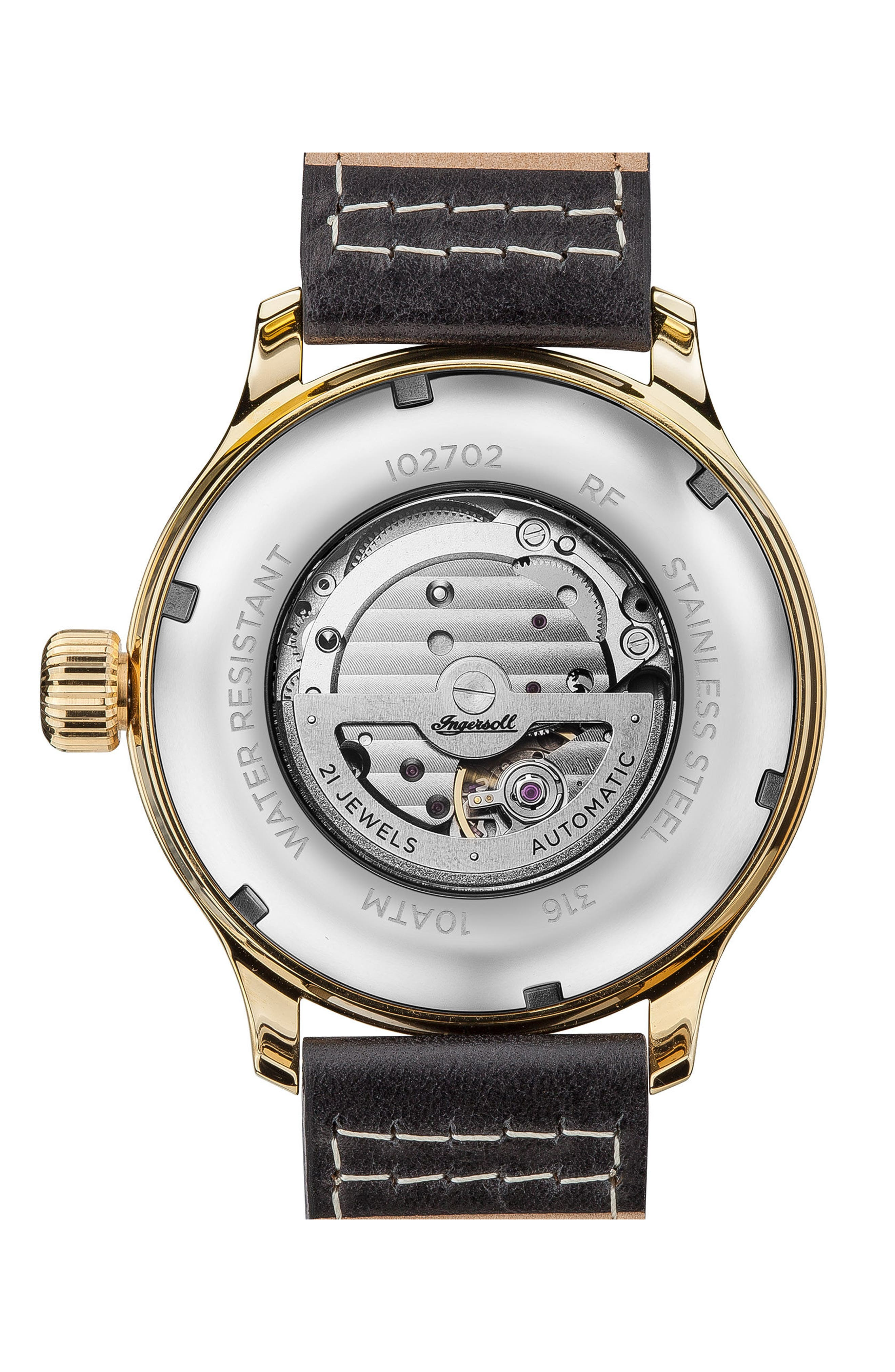 Alternate Image 2  - Ingersoll Apsley Automatic Leather Strap Watch, 45mm