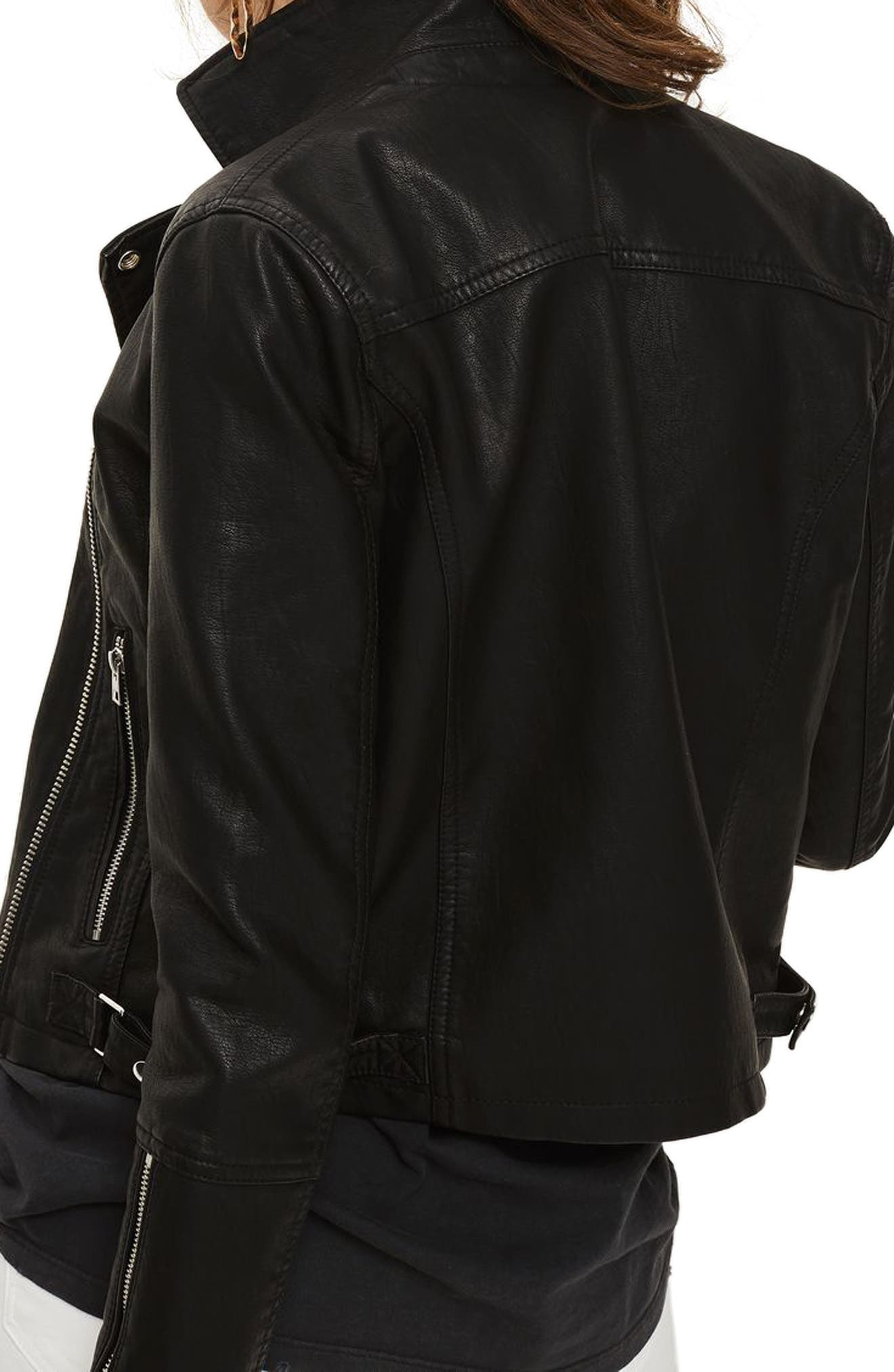 Daze Faux Leather Biker Jacket,                             Alternate thumbnail 2, color,                             Black