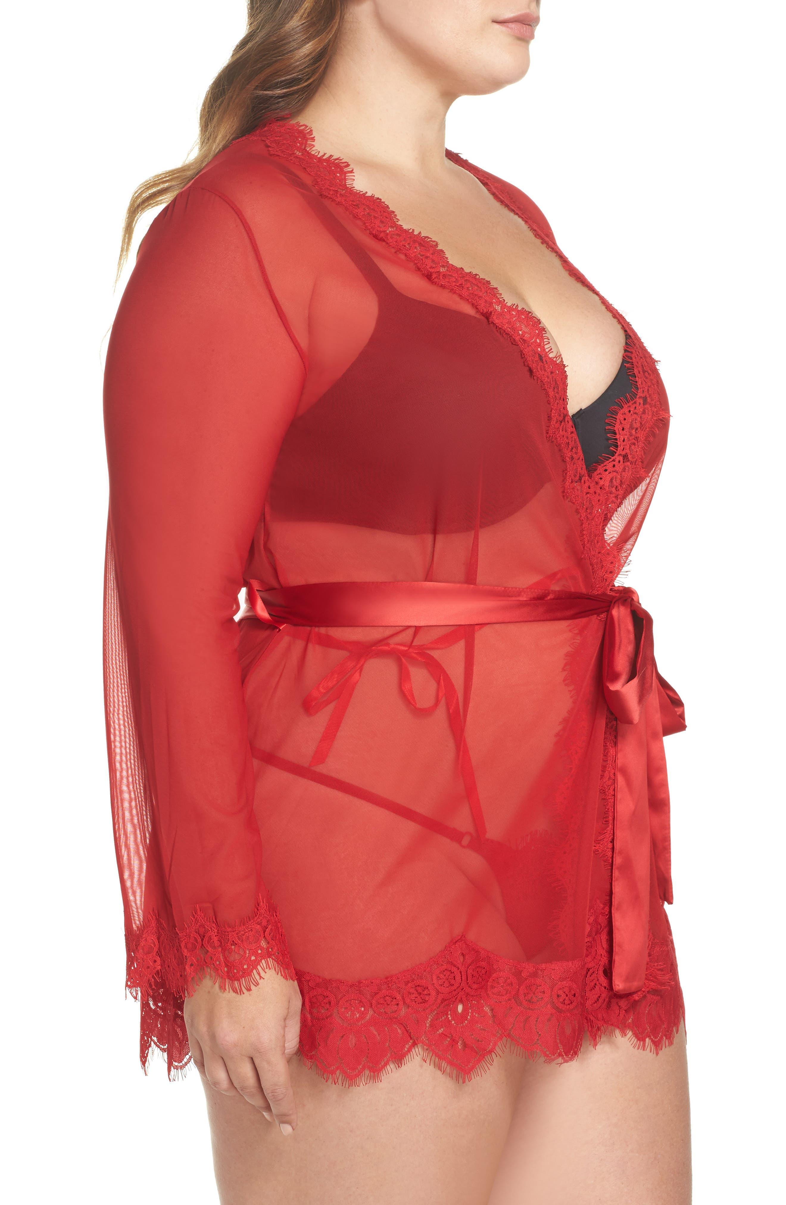 Alternate Image 3  - Oh La La Cheri Eyelash Lace Robe & G-String (Plus Size)