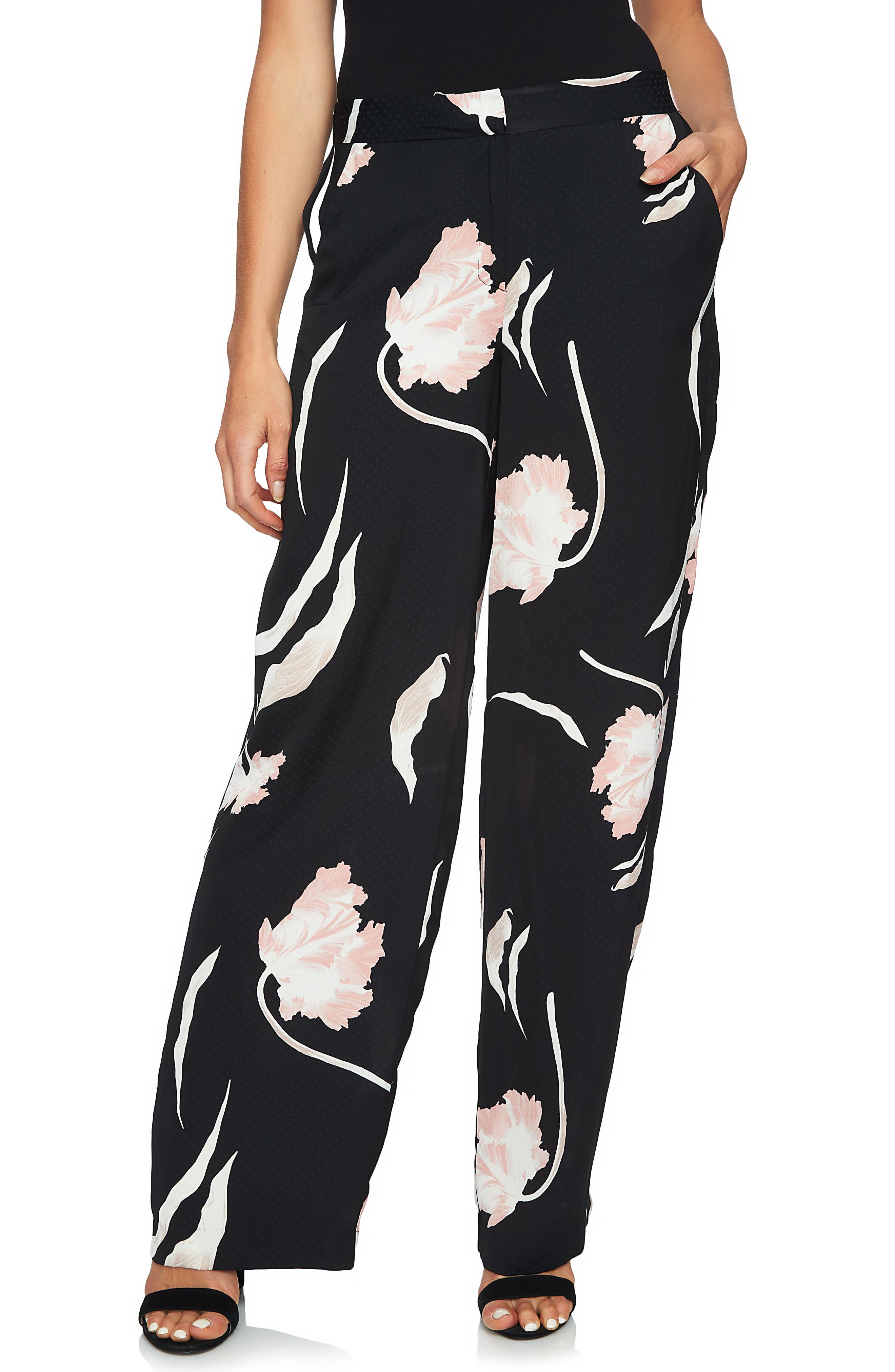 Flat Front Wide Leg Pants,                         Main,                         color, Cameo Pink