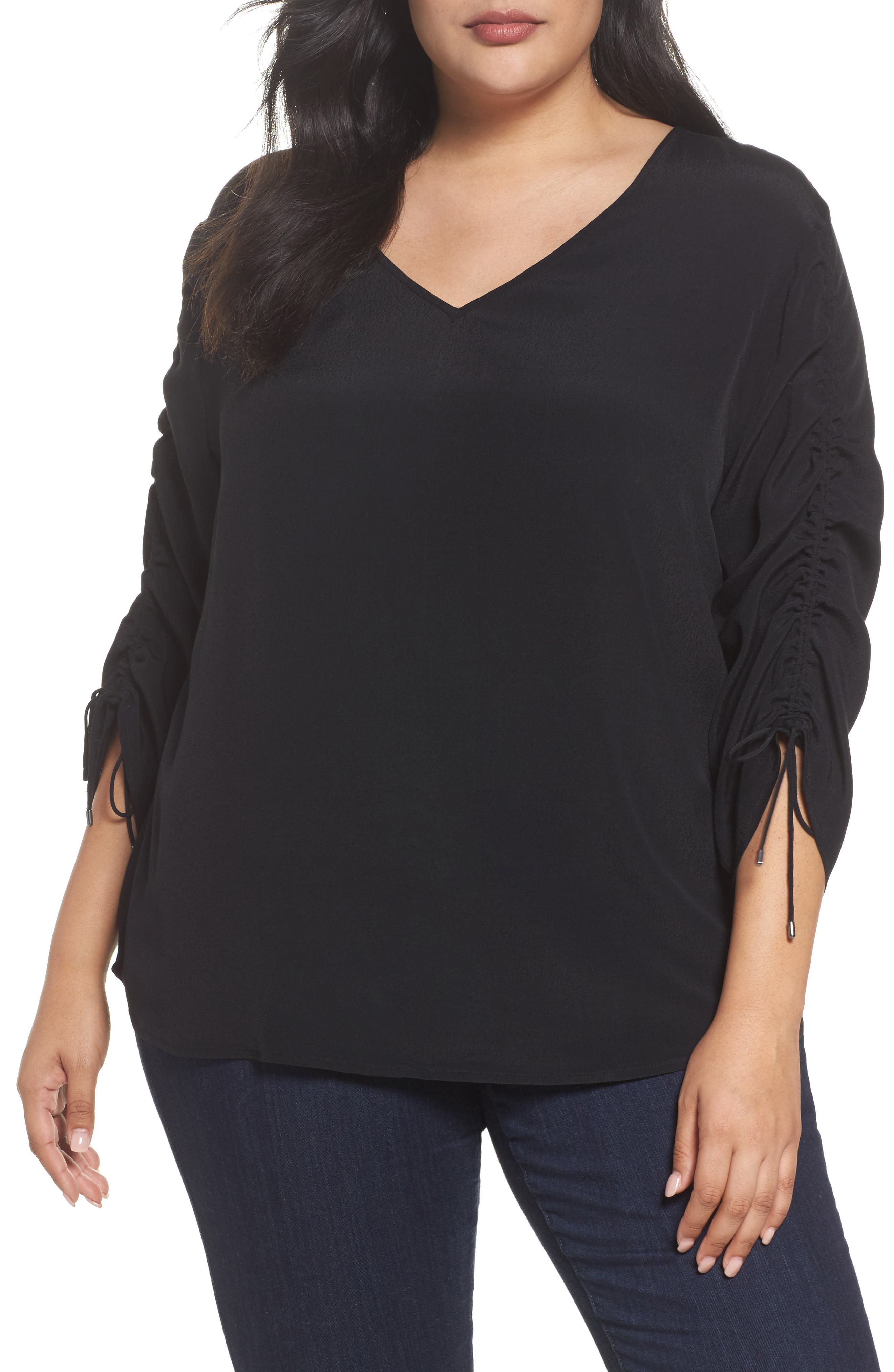 Cinched Sleeve Top,                         Main,                         color, Black