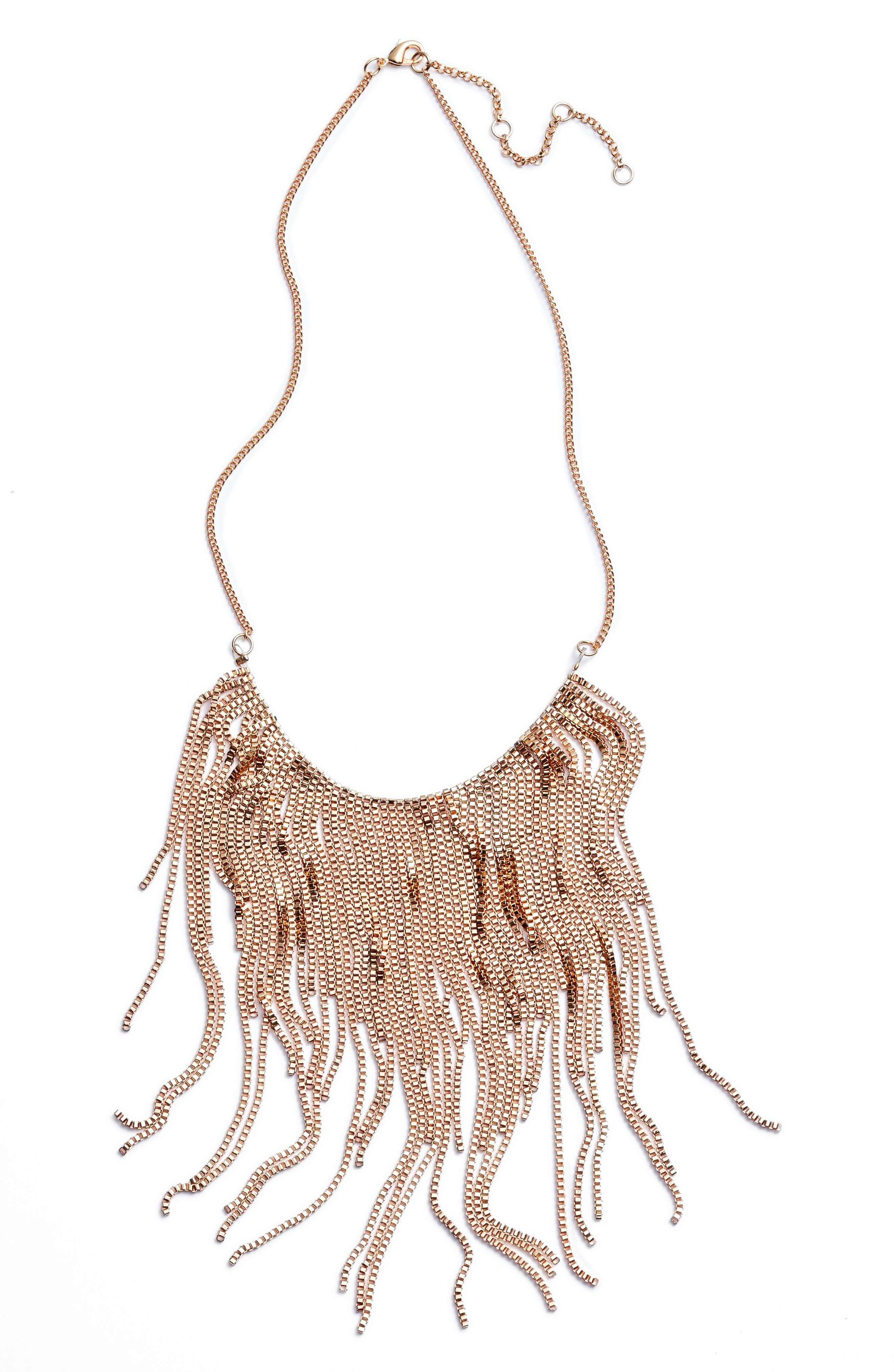 Chain Fringe Necklace,                             Main thumbnail 1, color,                             Gold