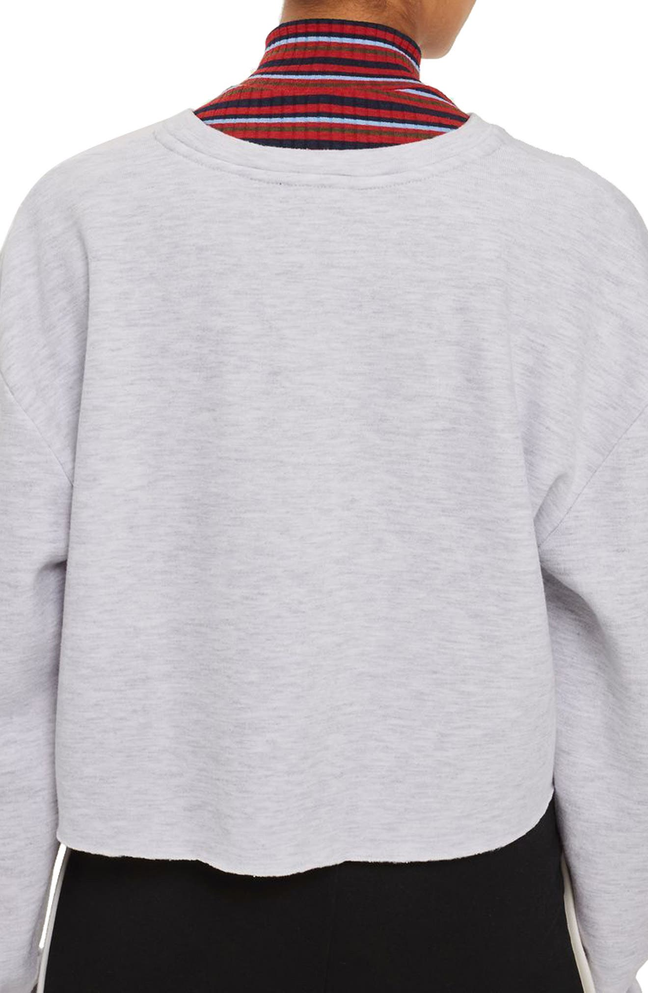 Crop Sweatshirt,                             Alternate thumbnail 3, color,                             Grey Marl