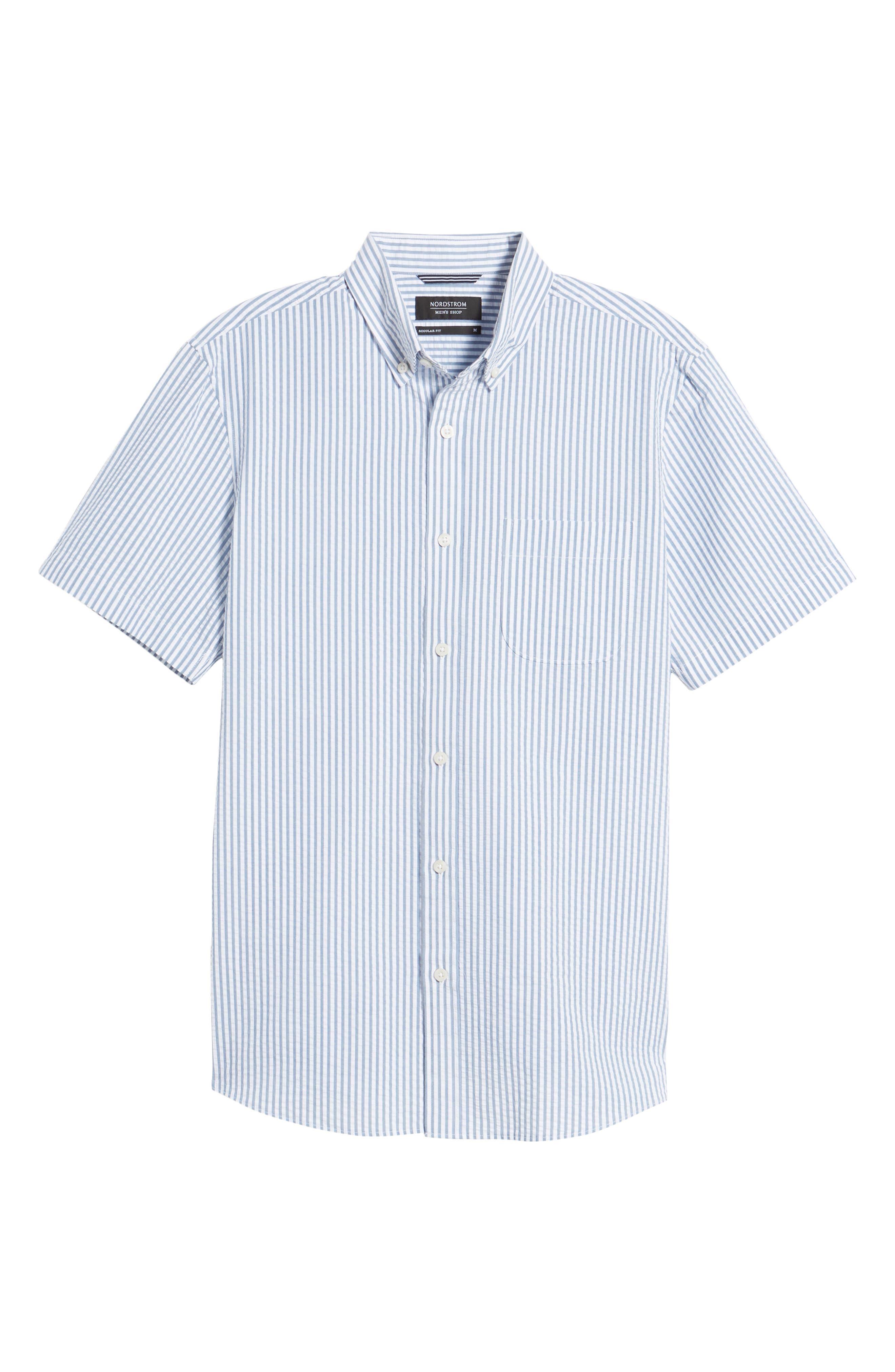 Trim Fit Seersucker Short Sleeve Sport Shirt,                             Alternate thumbnail 6, color,                             White Navy Seersucker Stripe