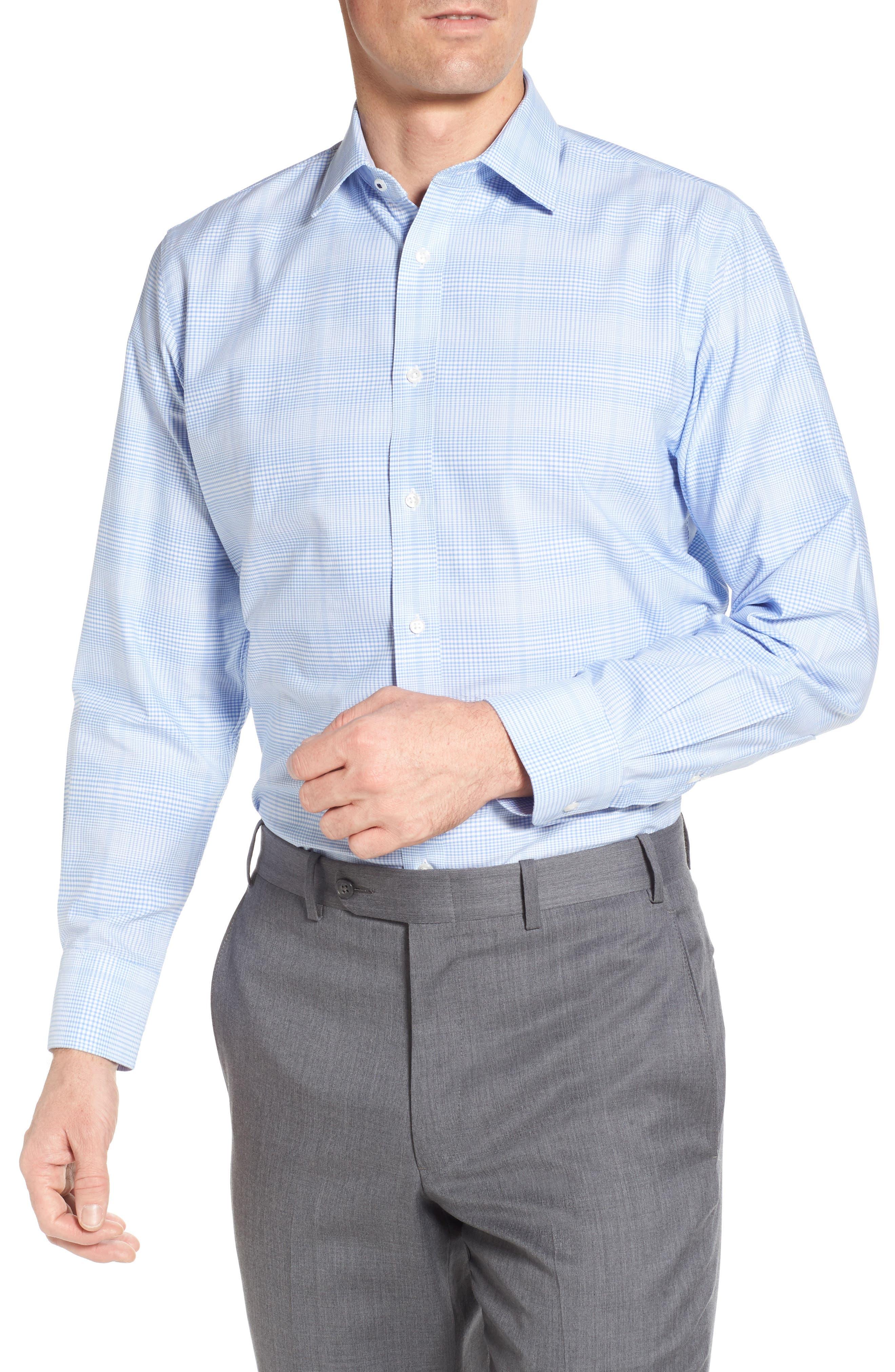 Tech-Smart Traditional Fit Stretch Plaid Dress Shirt,                         Main,                         color, Blue Hydrangea