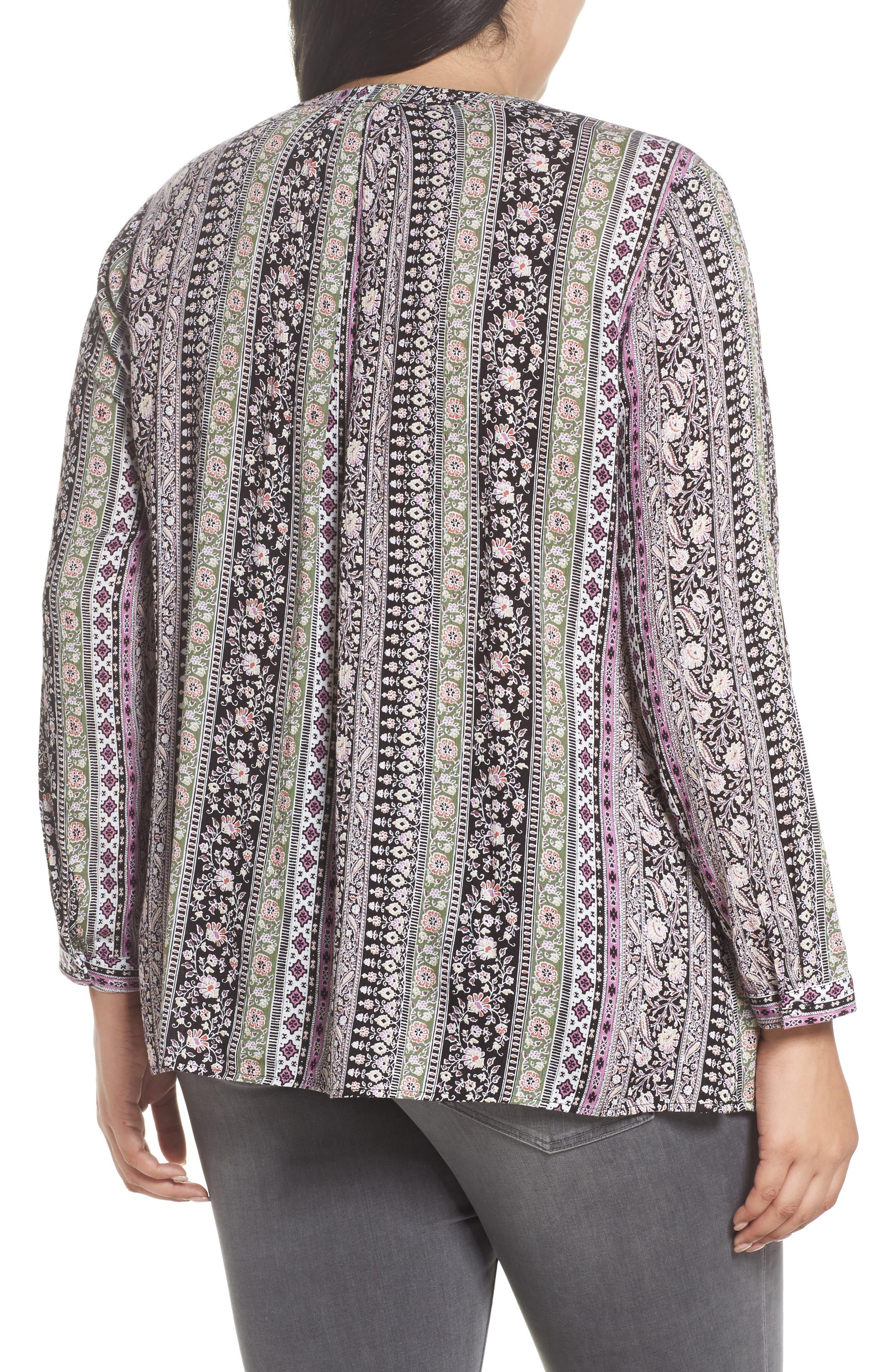 Alternate Image 2  - Daniel Rainn Embroidered Trim Floral Stripe Top (Plus Size)