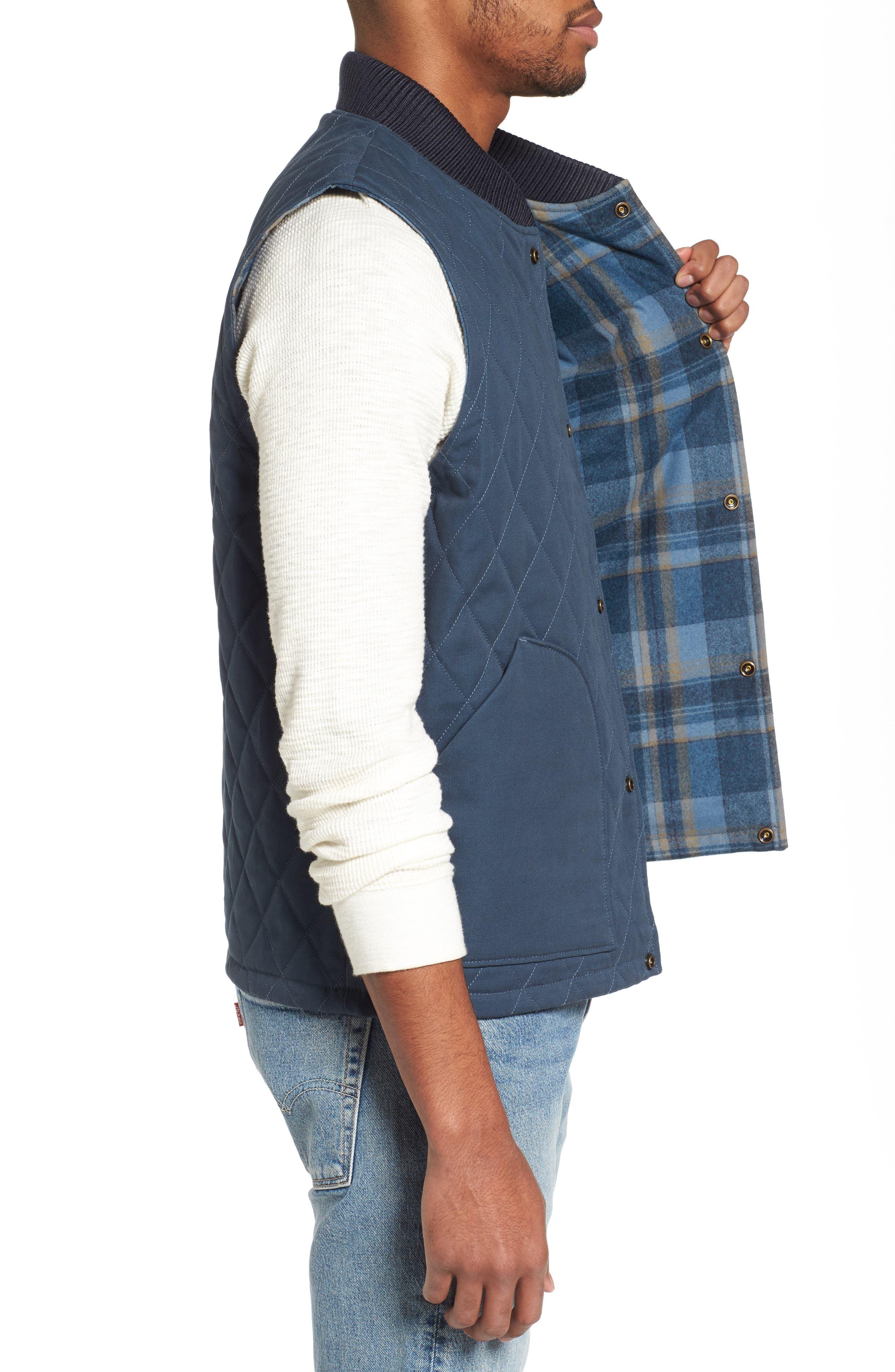 Reversible Canvas Vest,                             Alternate thumbnail 3, color,                             Navy/ Indigo Plaid
