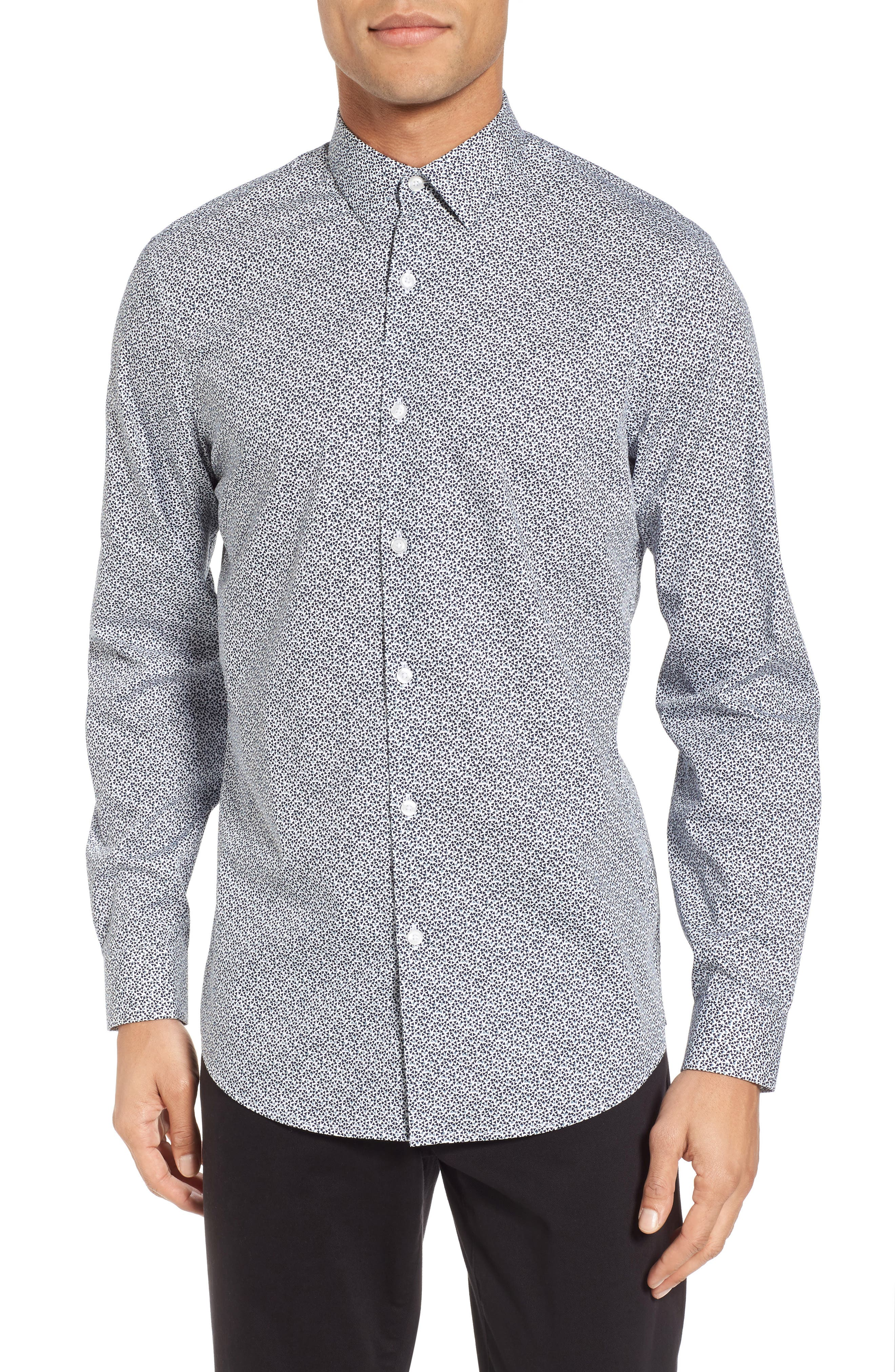 Trim Fit Geometric Sport Shirt,                         Main,                         color, Navy Blue Scatter Triangles
