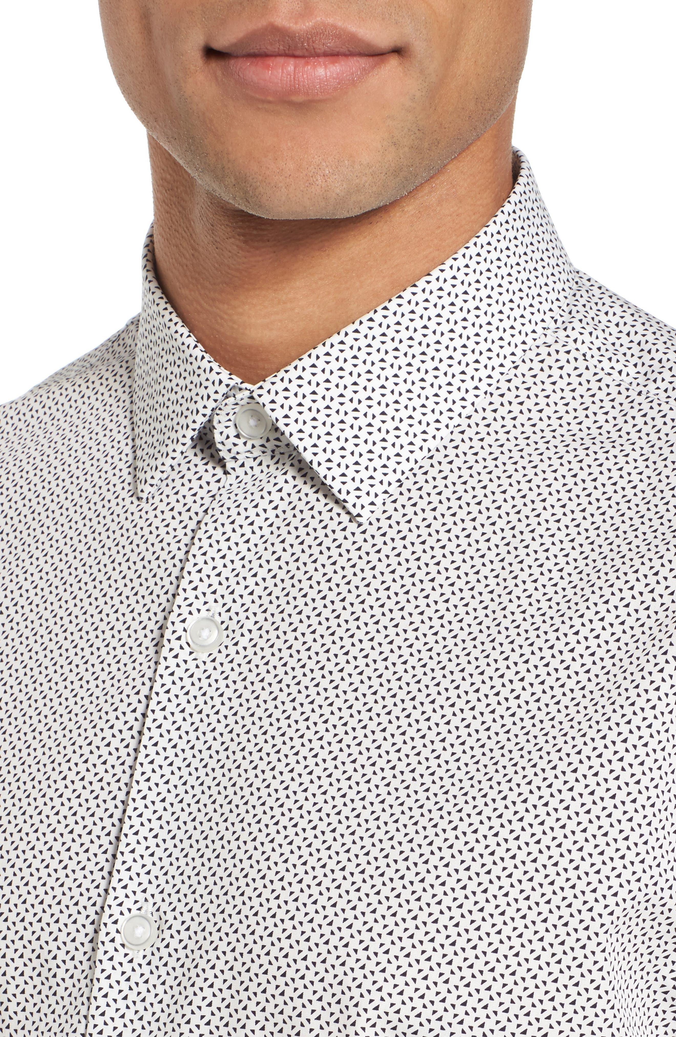 Slim Fit Print Short Sleeve Sport Shirt,                             Alternate thumbnail 4, color,                             White Navy Triangle