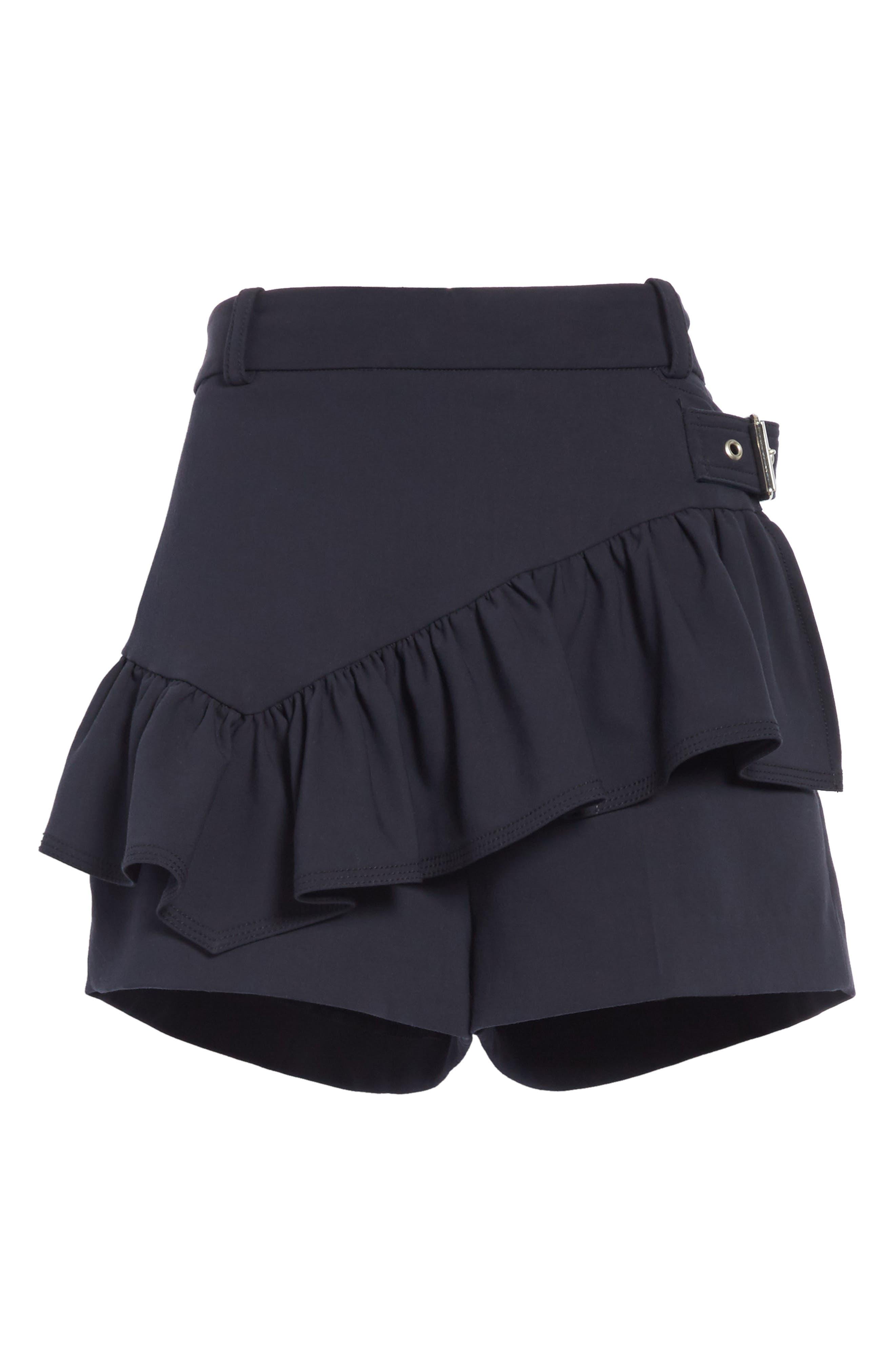 Ruffle Apron Shorts,                             Alternate thumbnail 6, color,                             Midnight